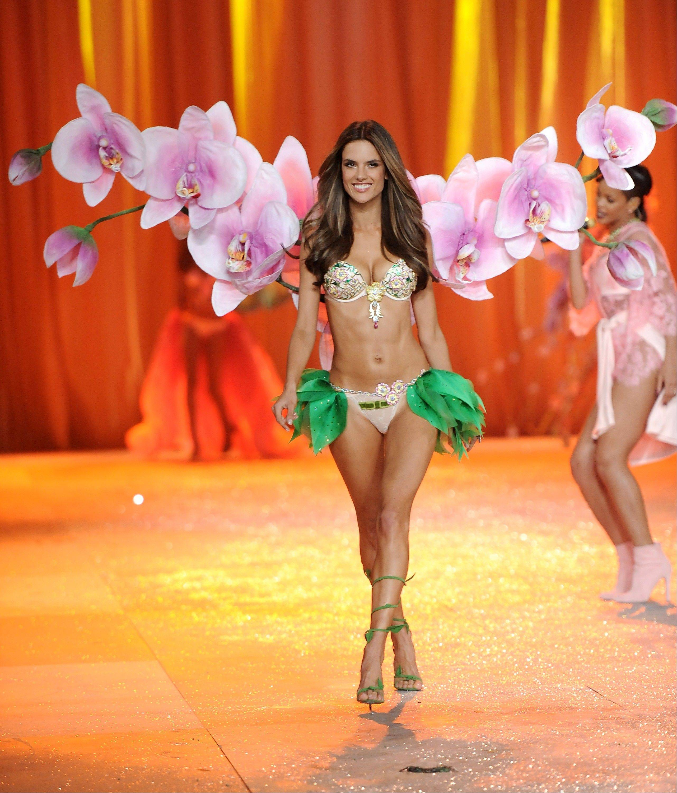 Brazilian Alessandra Ambrosio walks the runway during the 2012 Victoria's Secret Fashion Show.