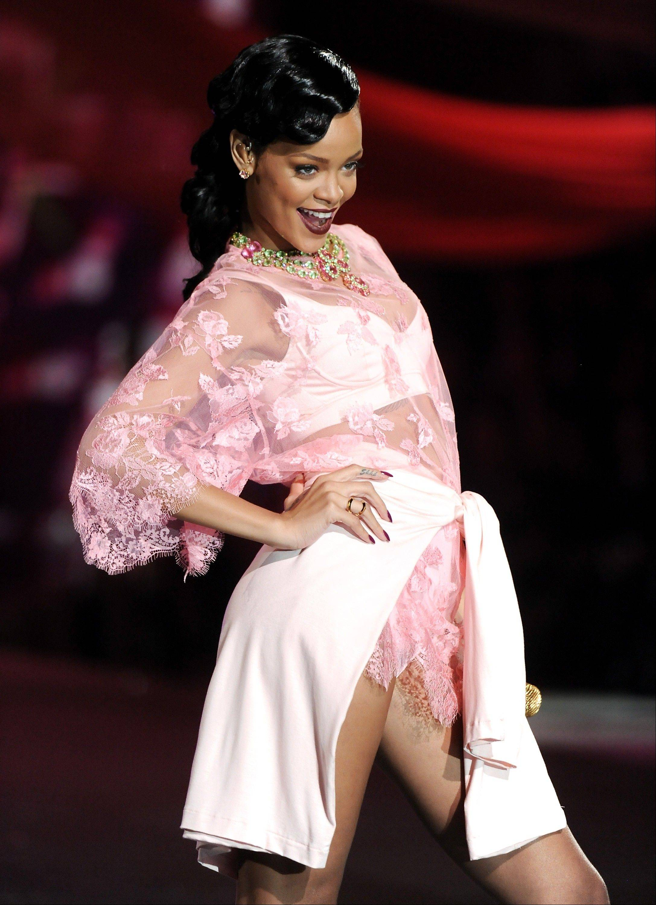 Singer Rihanna performs during the 2012 Victoria's Secret Fashion Show.