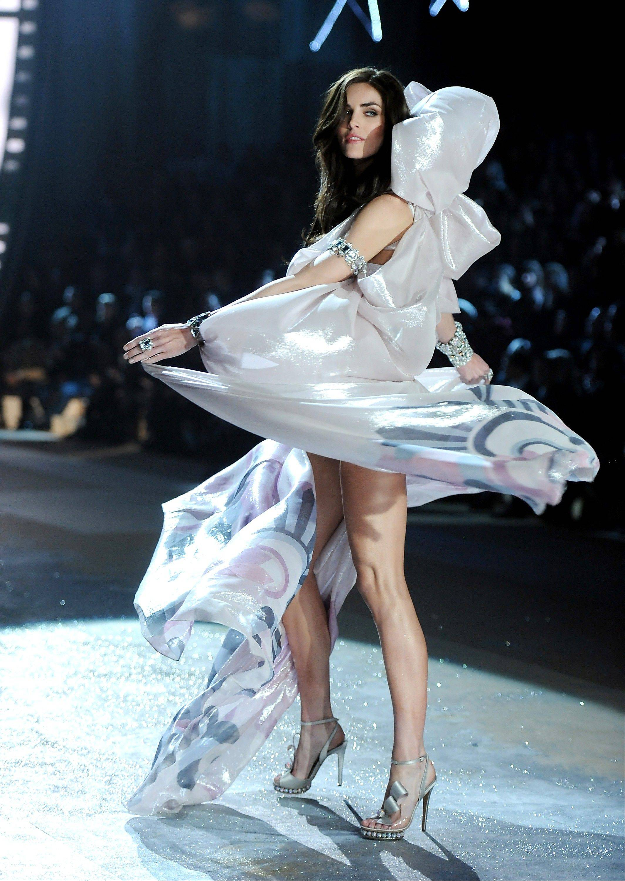 Model Hilary Rhoda walks the runway during the 2012 Victoria's Secret Fashion Show.