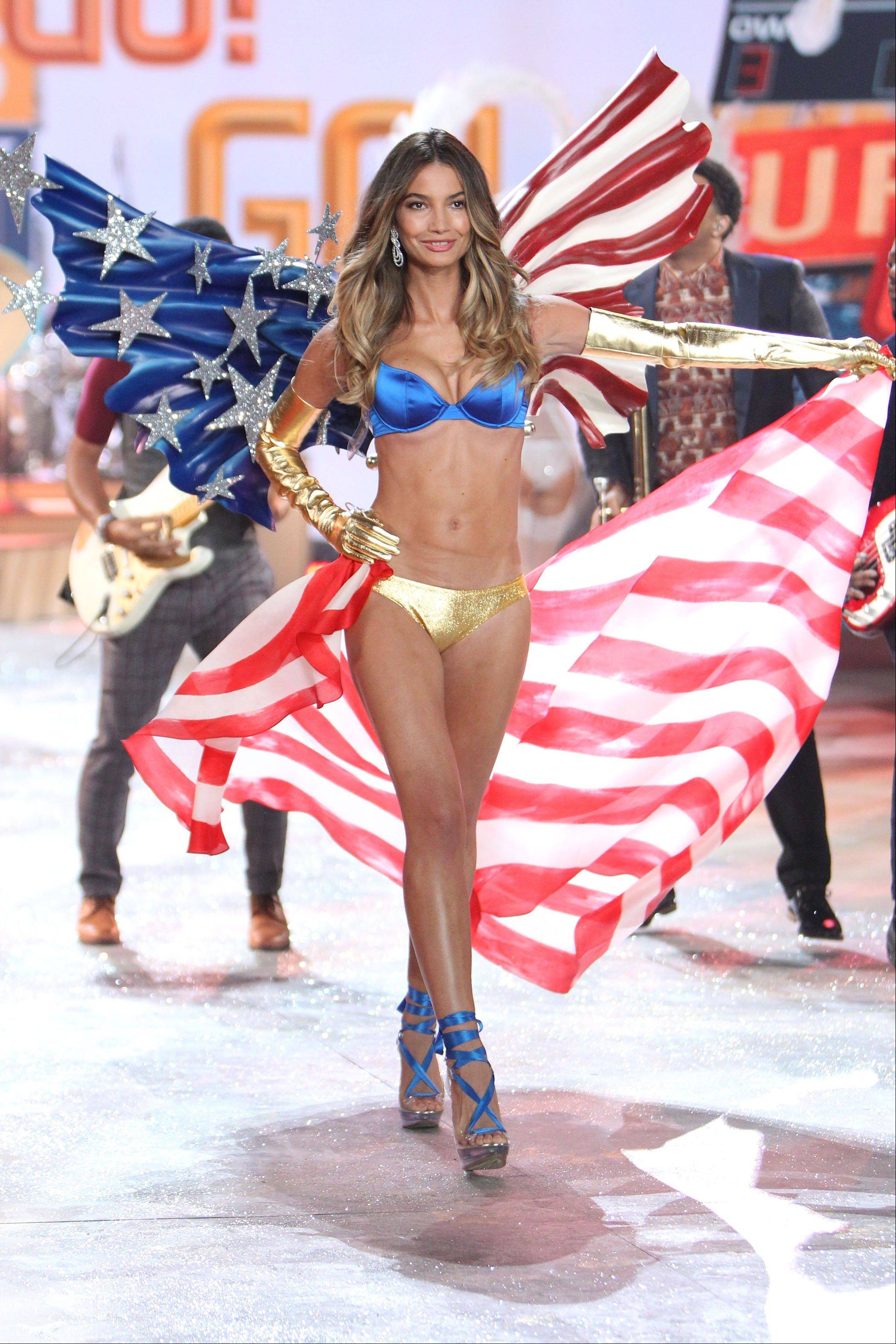 Lily Aldridge wearing a patriotic creation during a rehearsal for the 2012 Victoria's Secret Fashion Show in New York.