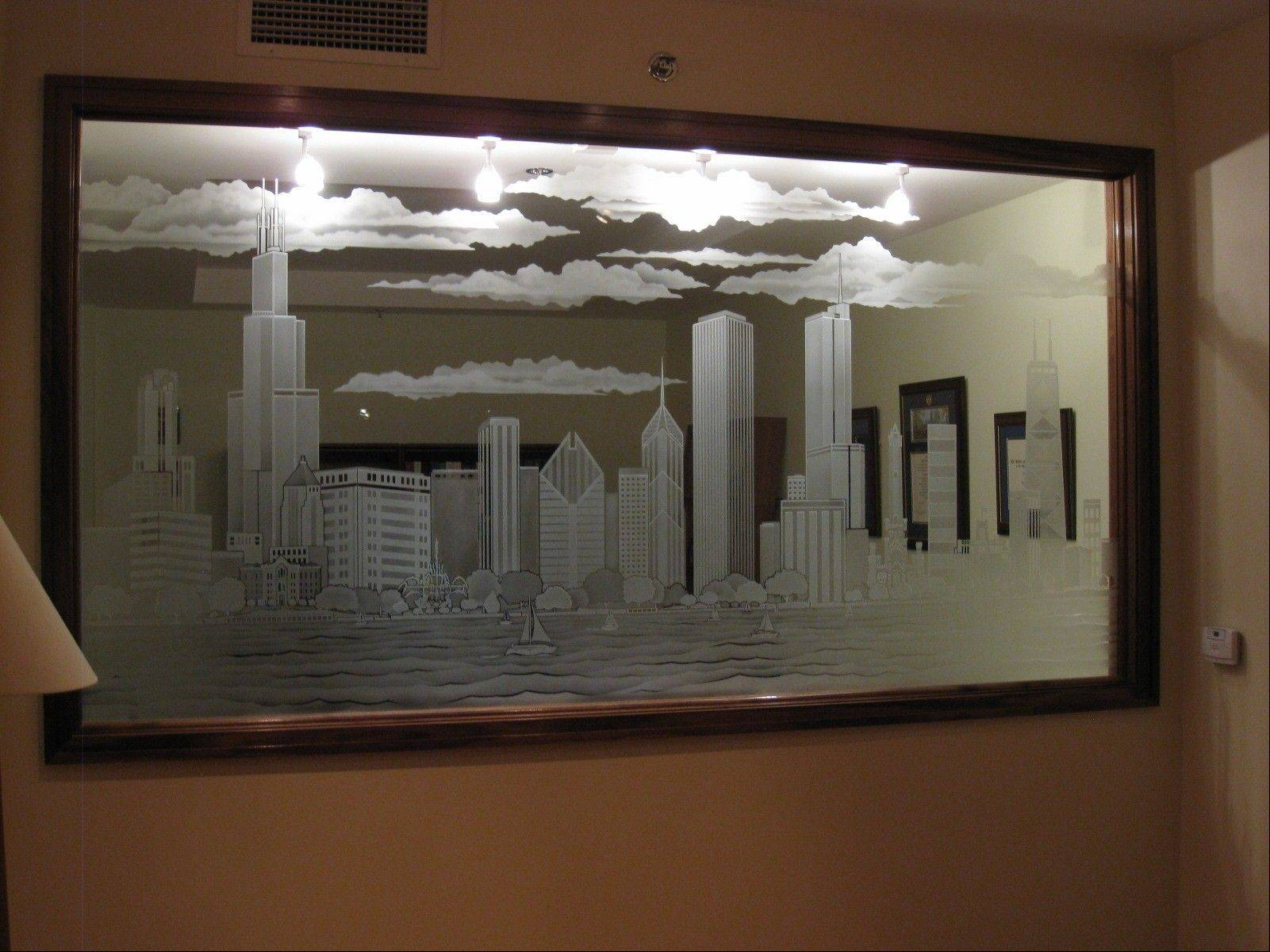 This Chicago skyline was etched into a mirror for a customer.