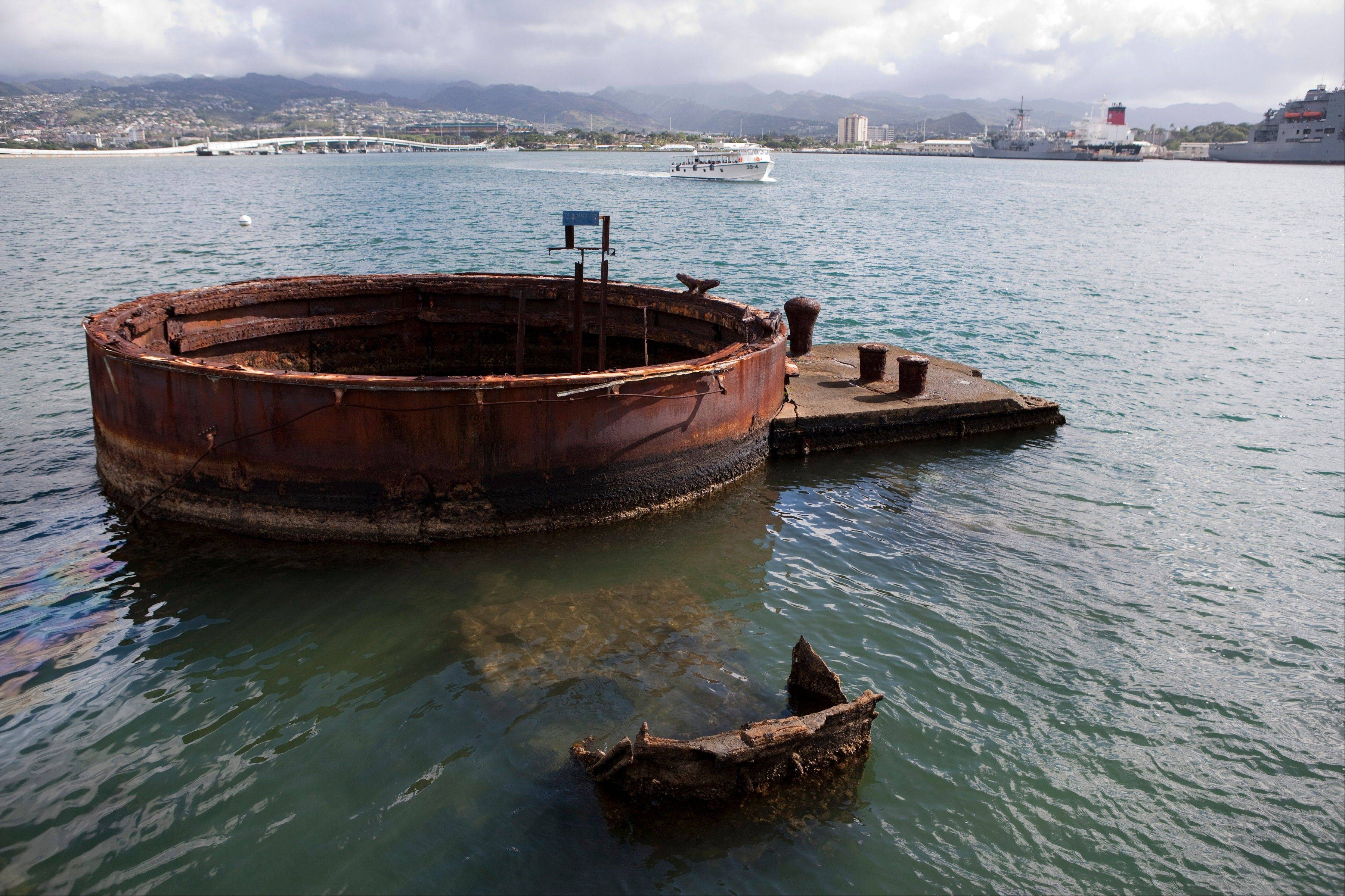 A gun turret base from the USS Arizona can be seen in Pearl Harbor, Hawaii.