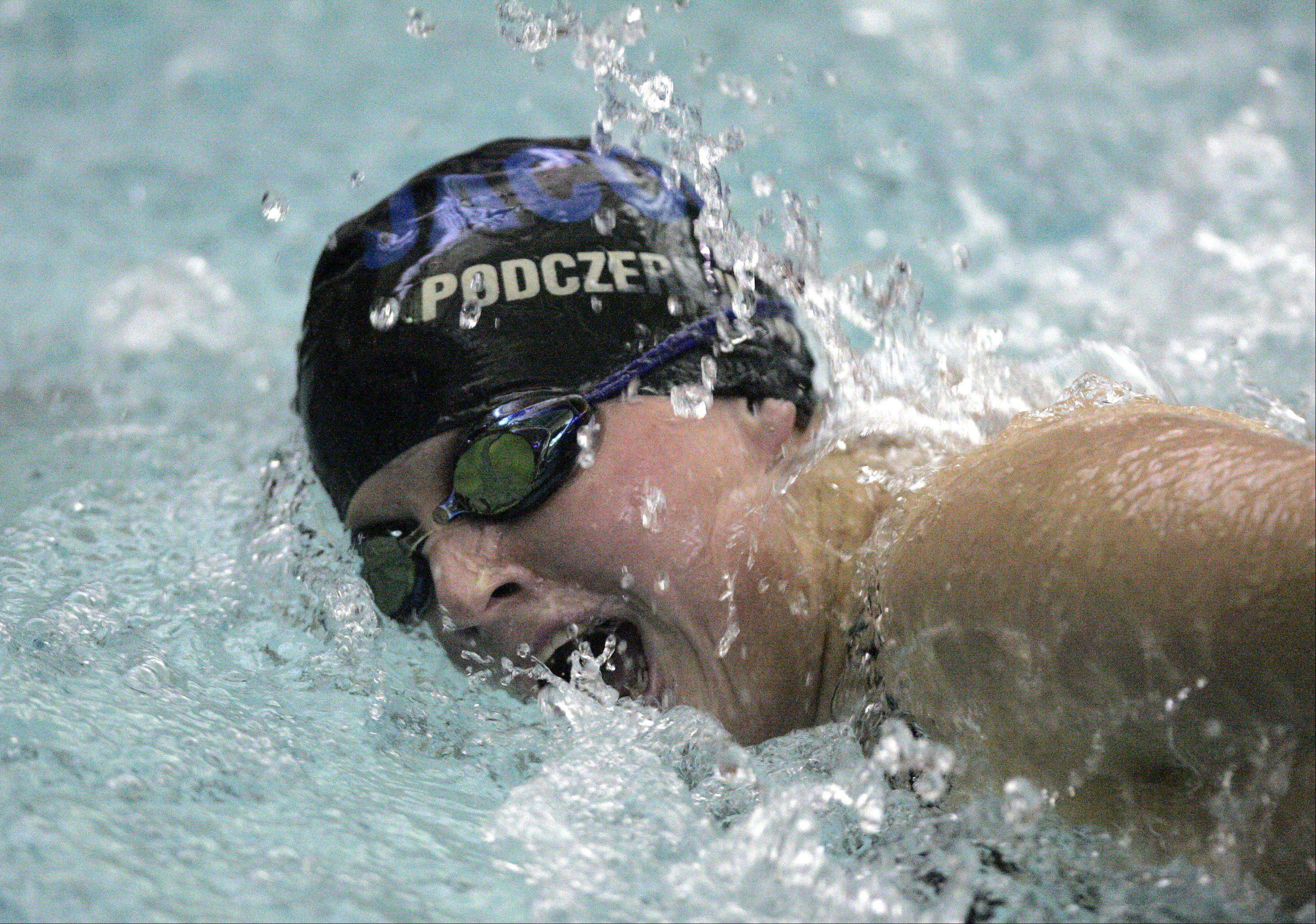 Brittany Podczerwinski of Jacobs swims the 200 yard IM during the St. Charles North girls swimming sectional Saturday November 10, 2012.