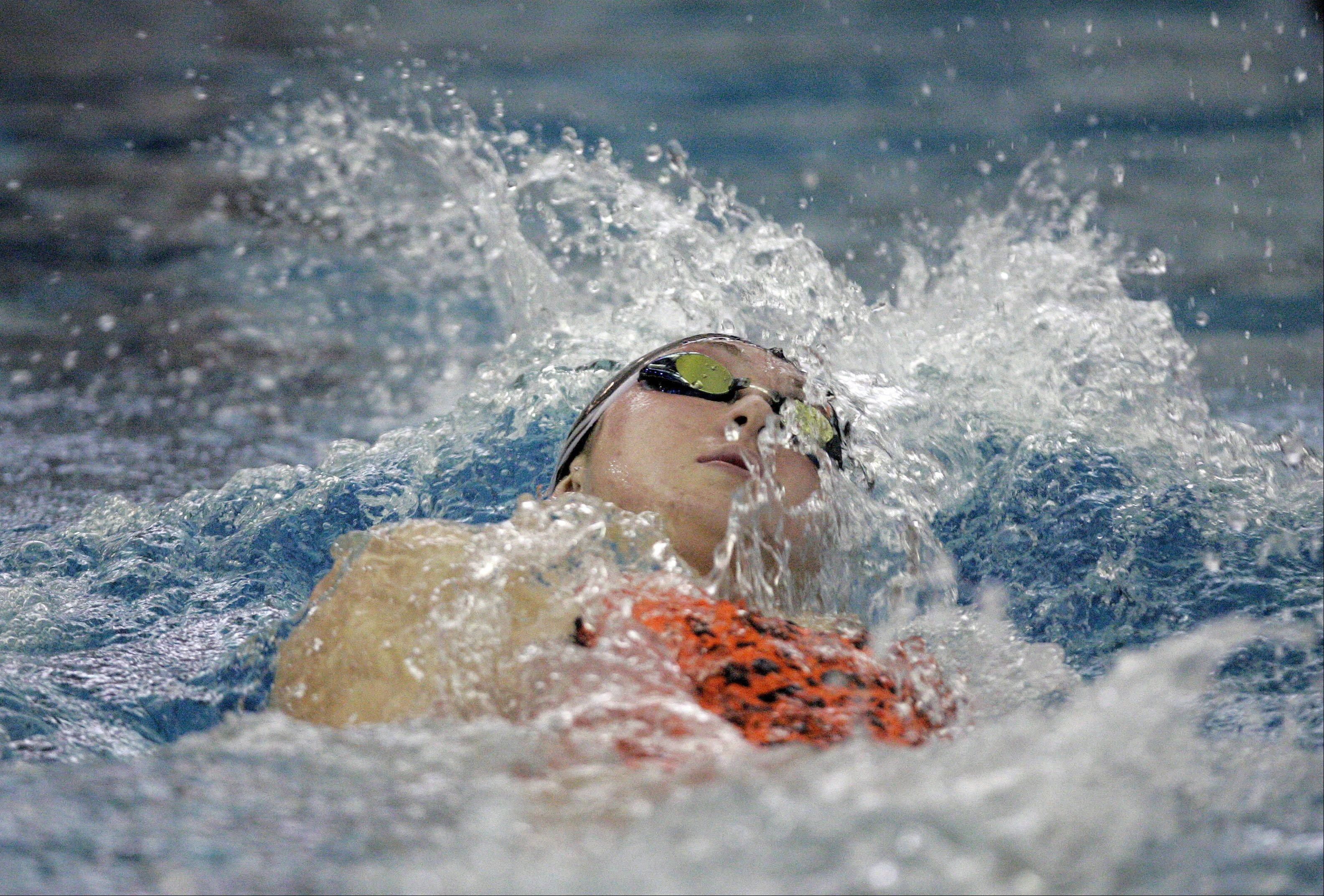 BRIAN HILL/bhill@dailyherald.comNicole Chapko of St. Charles East swims the 200 yard IM during the St. Charles North girls swimming sectional Saturday November 10, 2012.