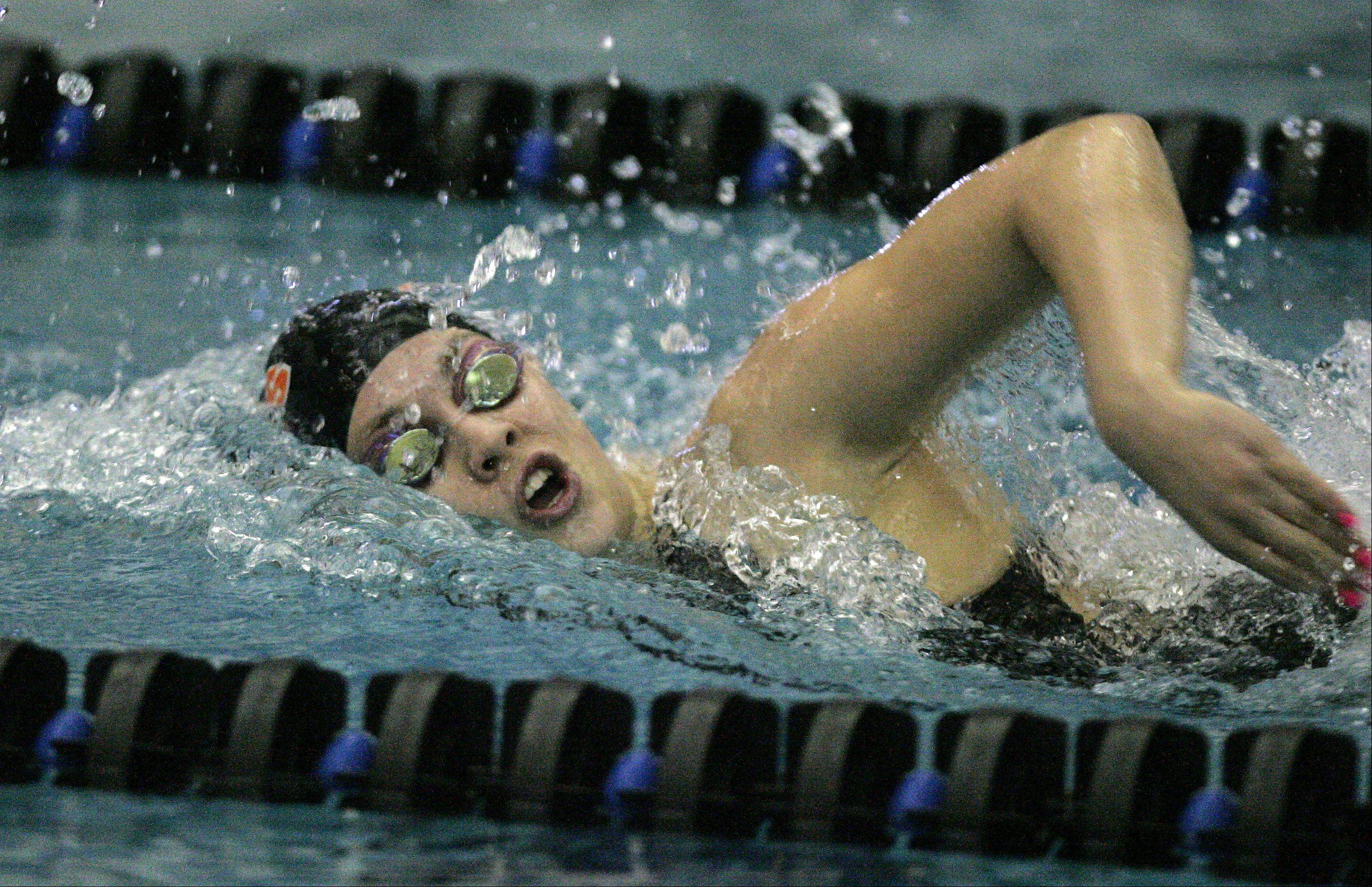 Izzie Bindeseil of St. Charles East swims the 200 yard freestyle race during the St. Charles North girls swimming sectional Saturday November 10, 2012.
