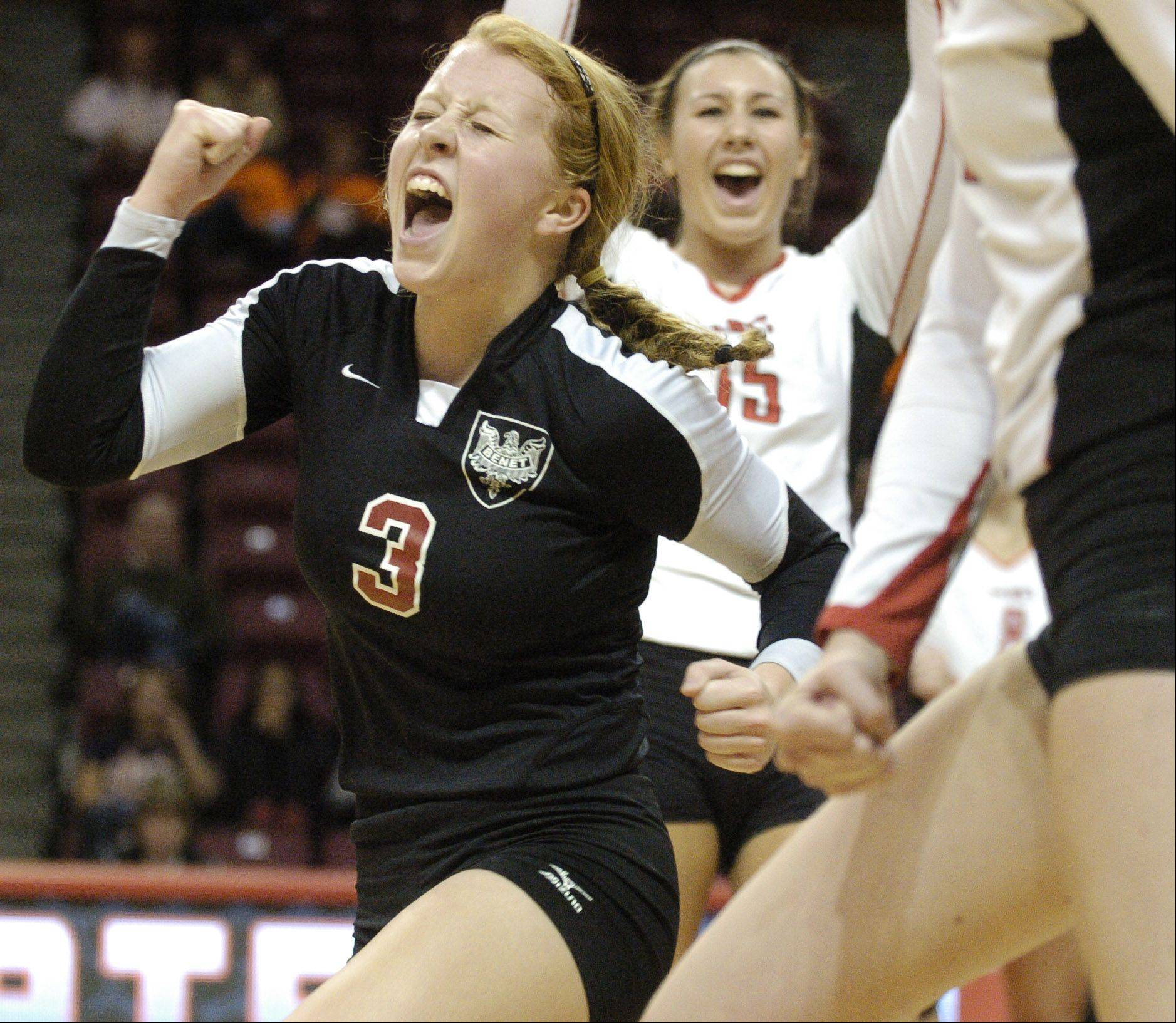 Benet's Sheila Doyle reacts to a point against New Trier during Saturday's Class 4A championship volleyball game at Redbird Arena at Illinois State University.