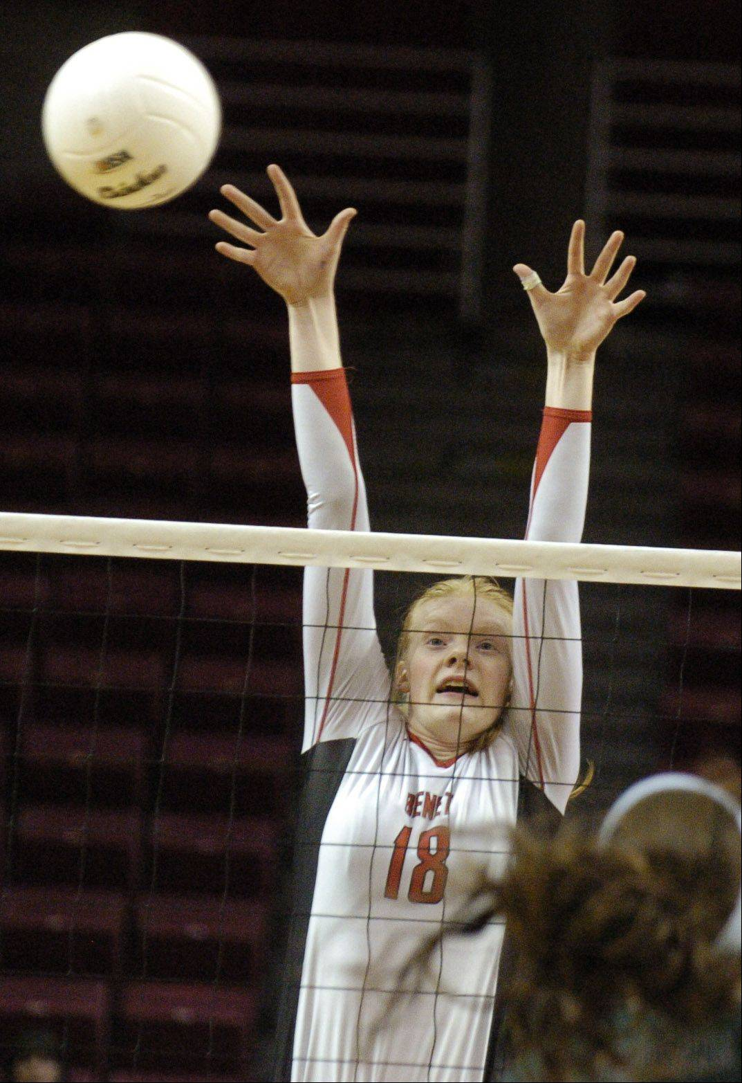 Benet's Rachael Fara goes for a block against New Trier.
