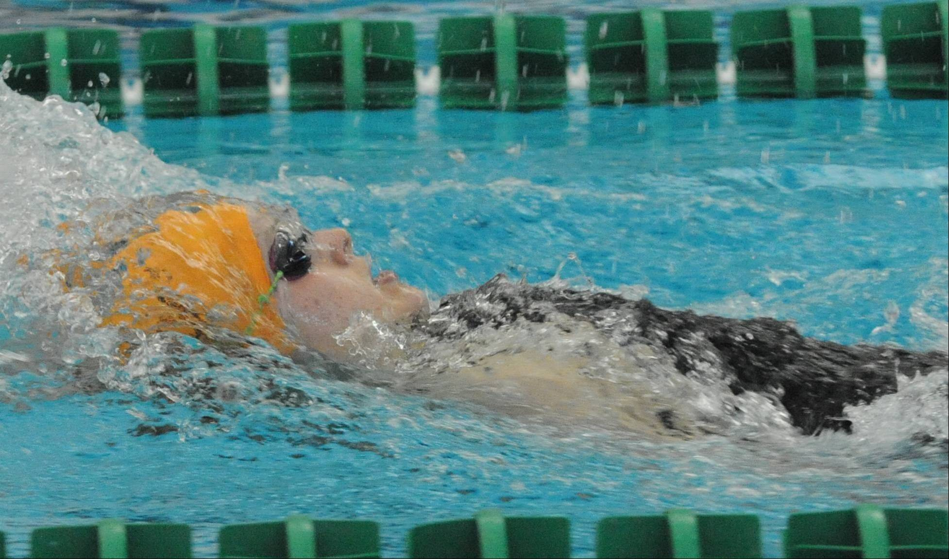 Stevenson's Amanda Petro competes during the backstroke leg of the 200 IM on Saturday at Stevenson.
