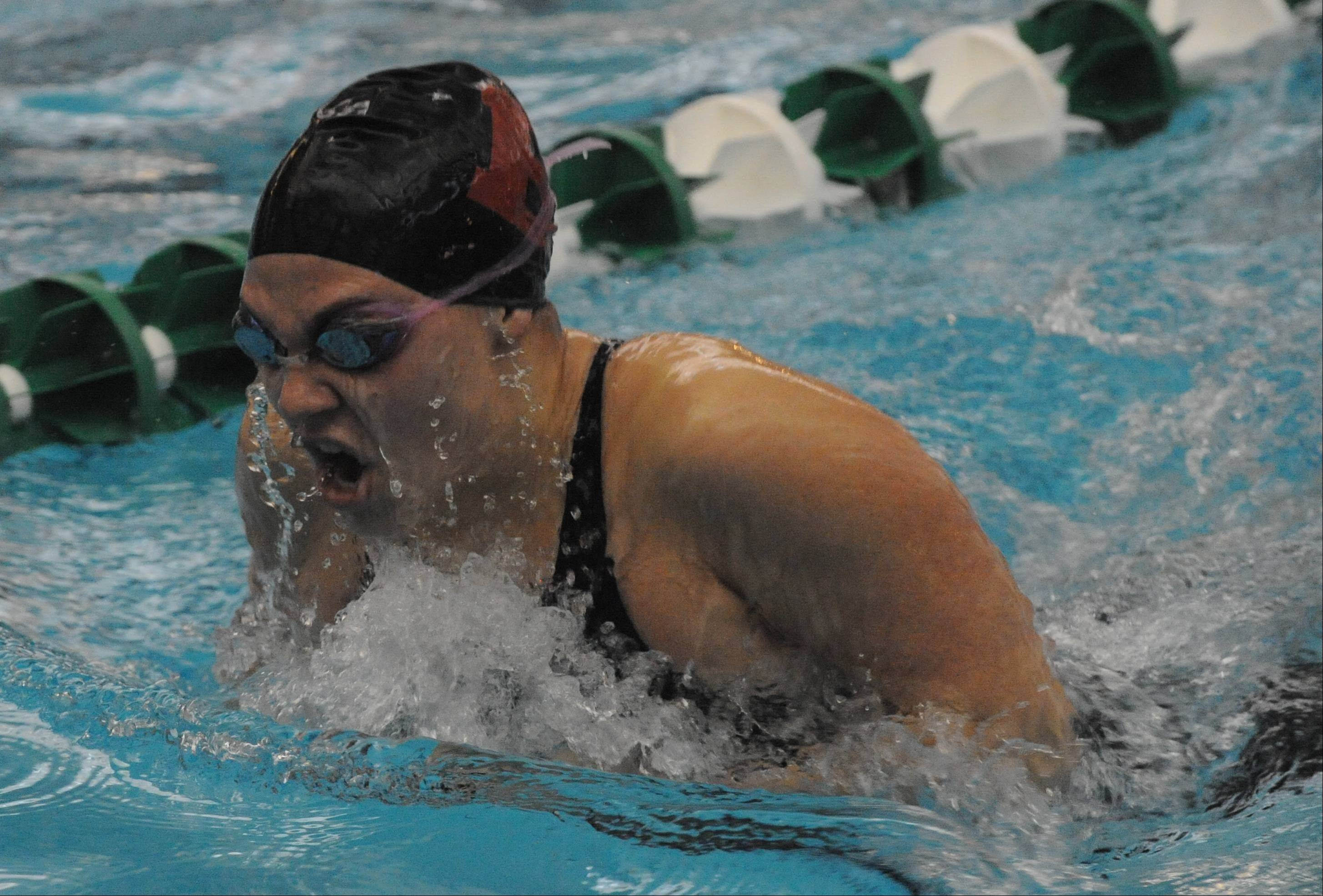 Barrington's Olivia Hoffman grabs a breath on the way to a state-qualifying performance in the 100-yard breaststroke.