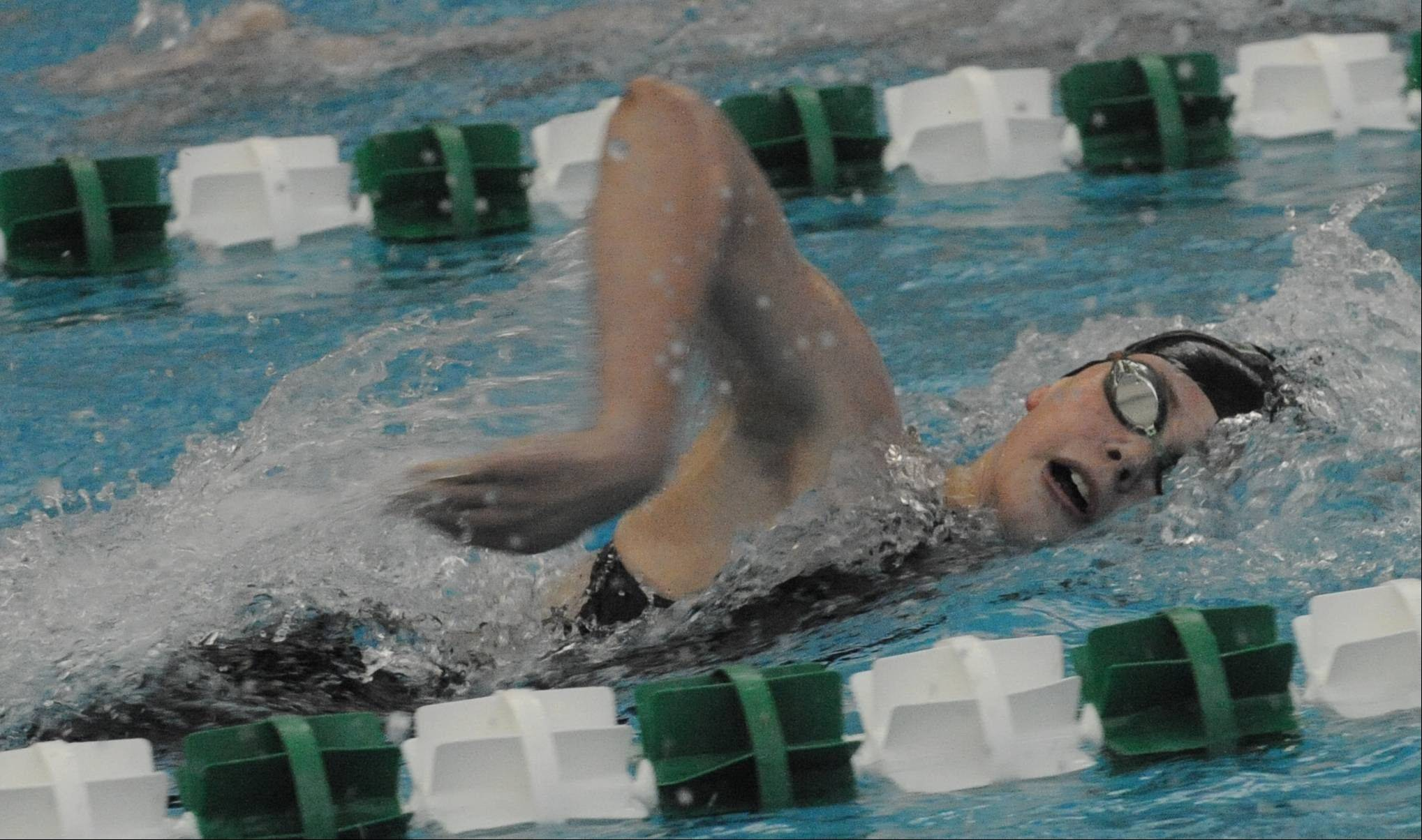 Stevenson senior Madison Blaydes strokes toward a state-qualifying effort in the 500-yard freestyle on Saturday at Stevenson.