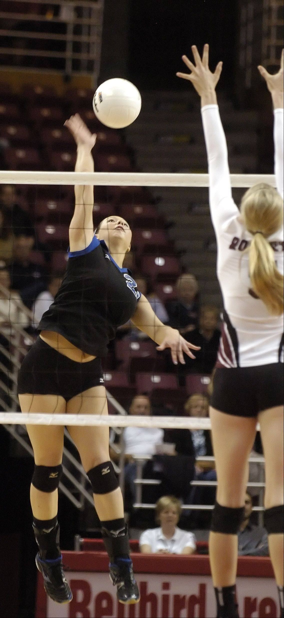 Michelle McLaughlin of St. Francis spikes the ball during the class 3A girls volleyball championship Saturday at Redbird Arena, on Illinois State campus in Bloomington-Normal.