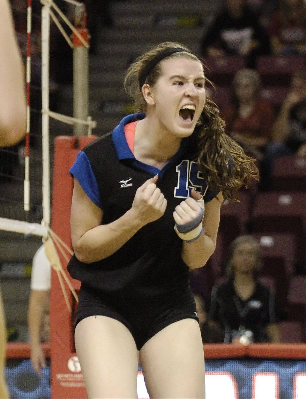 McKenna Kelsay of St. Francis reacts to a good hit during the class 3A girls volleyball championship Saturday at Redbird Arena, on Illinois State campus in Bloomington-Normal.