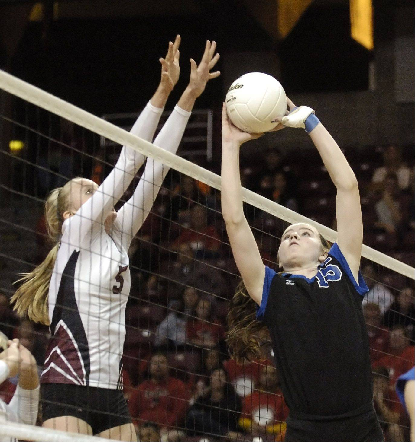 Ali Frantti of Richmond-Burton,left, and McKenna Kelsay go up for a ball. this took place during the class 3A girls volleyball championship Saturday at Redbird Arena, on Illinois State campus in Bloomington-Normal.
