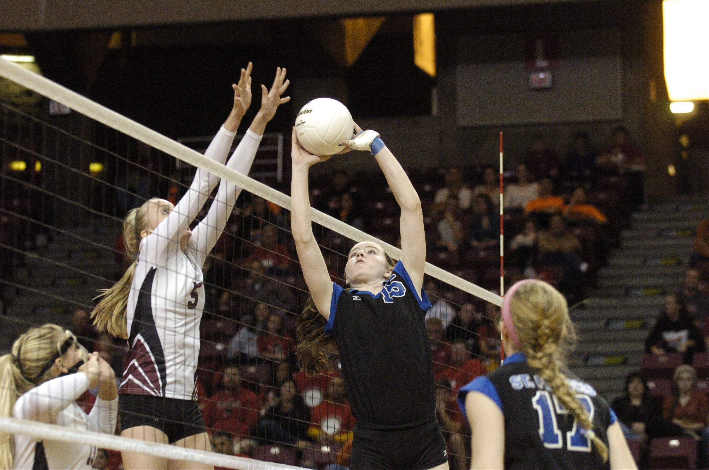 Images from the IHSA Class 3A girls volleyball championship game between Wheaton St. Francis and Richmond-Burton at Redbird Arena at Illinois State University Saturday November 10, 2012.