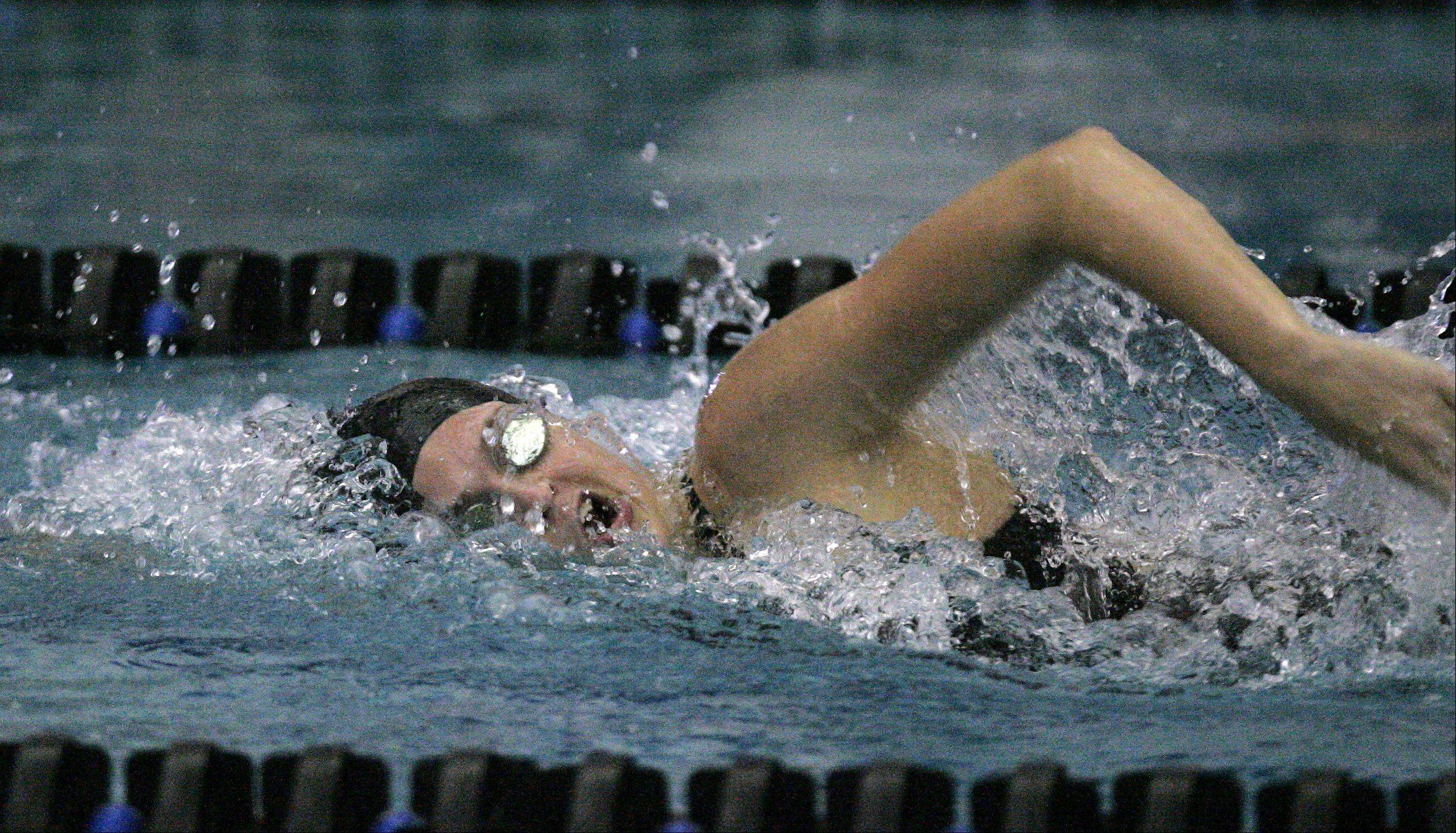 Ali Cazel of Huntley swims the 200 yard freestyle race during the St. Charles North girls swimming sectional Saturday.
