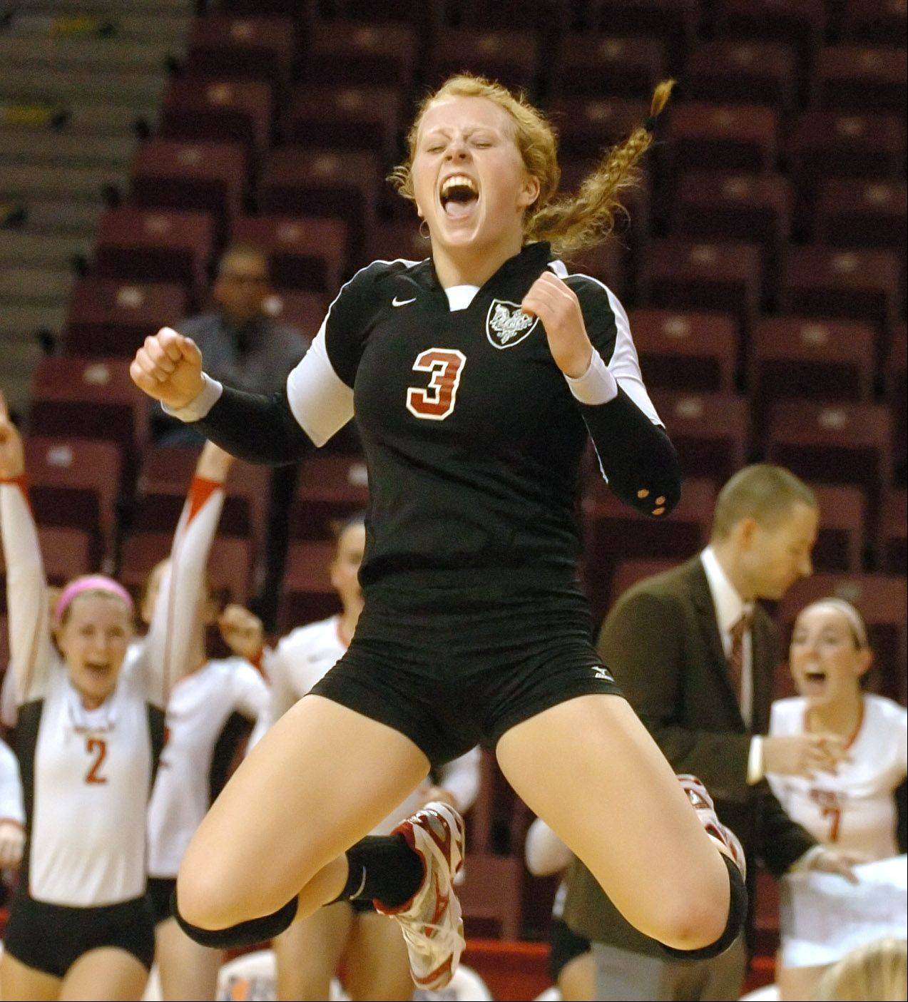 Sheila Doyle of Benet celebrates their win during the class 4A girls volleyball semifinal, Benet vs. Libertyville at Redbird Arena, on Illinois State campus Friday.