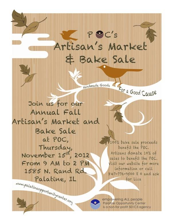 Handmade Goods for a Good Cause: Join POC on November 15th from 9am to 2pm. palatineopportunitycenter.org