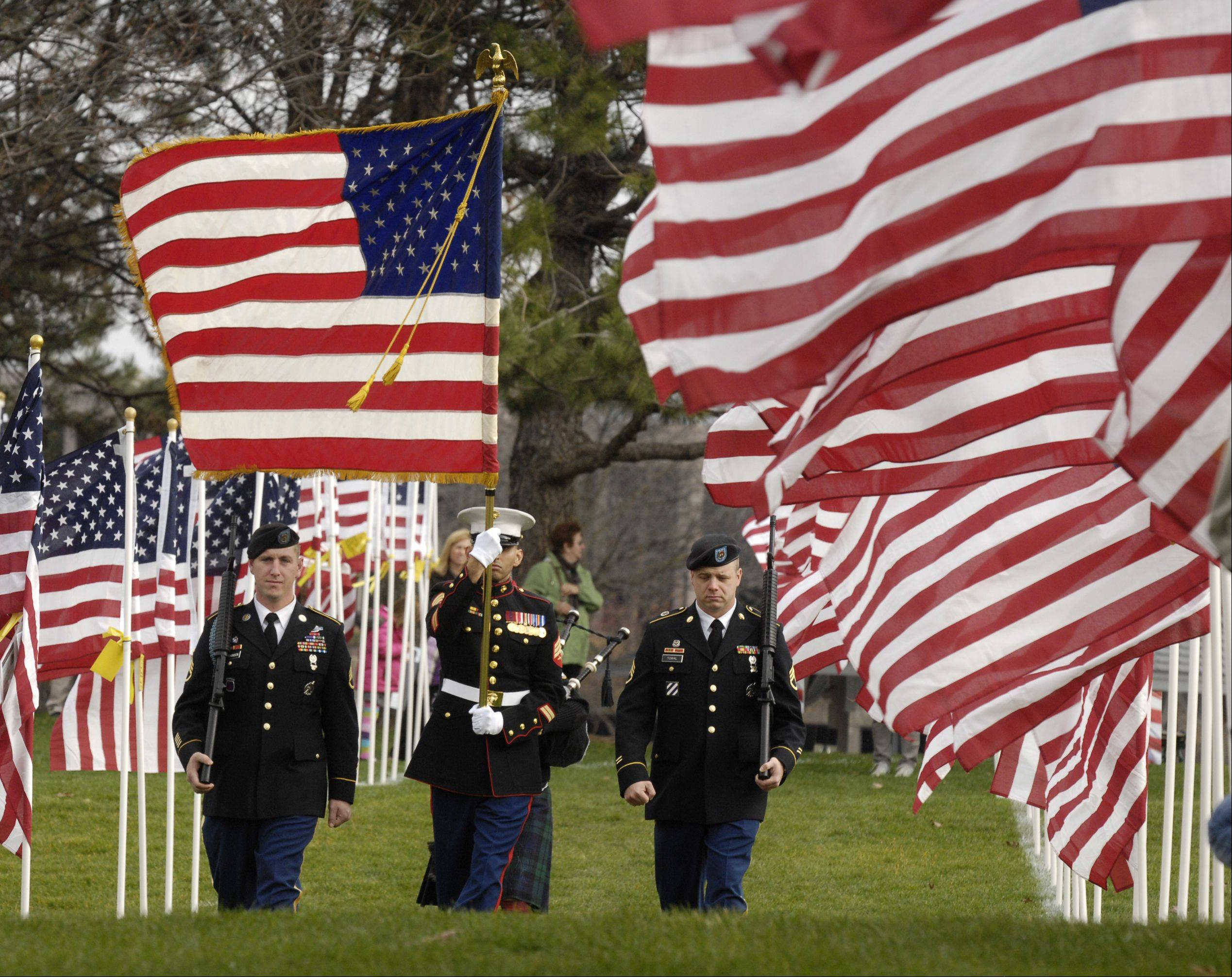 The Color Guard marches through the Naperville Healing Field to post the colors for the Naperville Veterans Day Ceremony, Sunday.