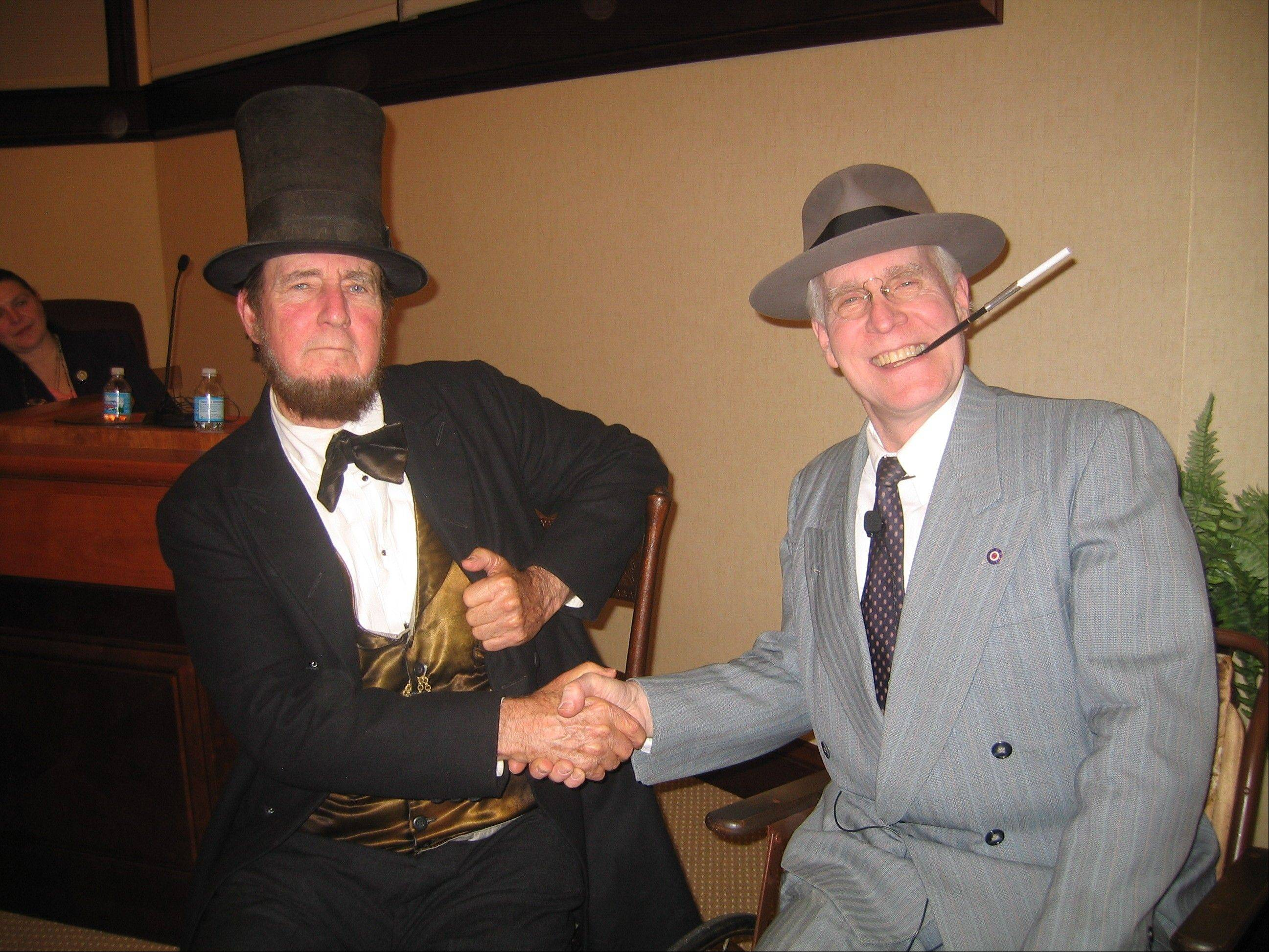 "Max Daniels, at left, portrays Abraham Lincoln, and R.J. Lindsey plays Franklin Delano Roosevelt in ""FDR & Lincoln Together: America in Crisis"" at the Naper Settlement."
