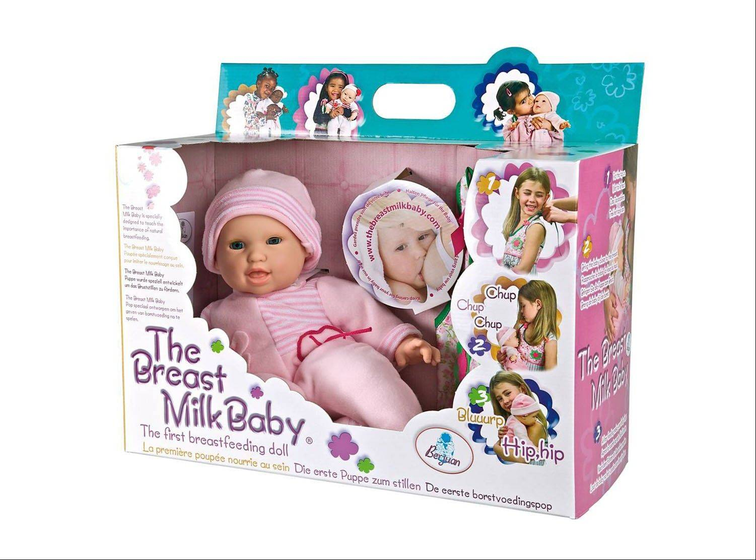 This product image released by Berjuan Toys shows The Breast Milk Baby doll. The breastfeeding doll, whose suckling sounds are prompted by sensors sewn into a halter top, has caught some flak after hitting the U.S. market.