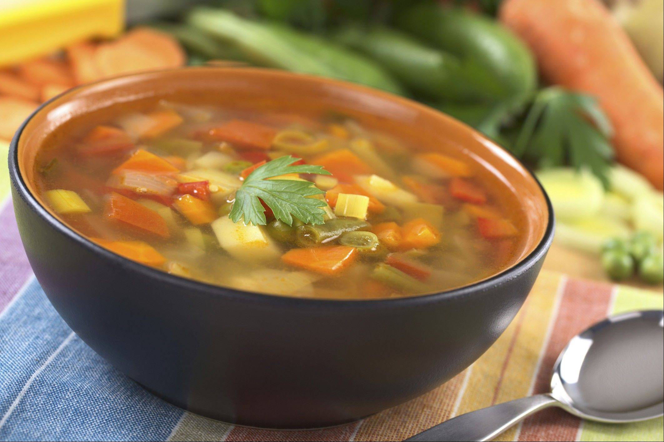 A bowl of soup before a meal will help you feel full and eat less.