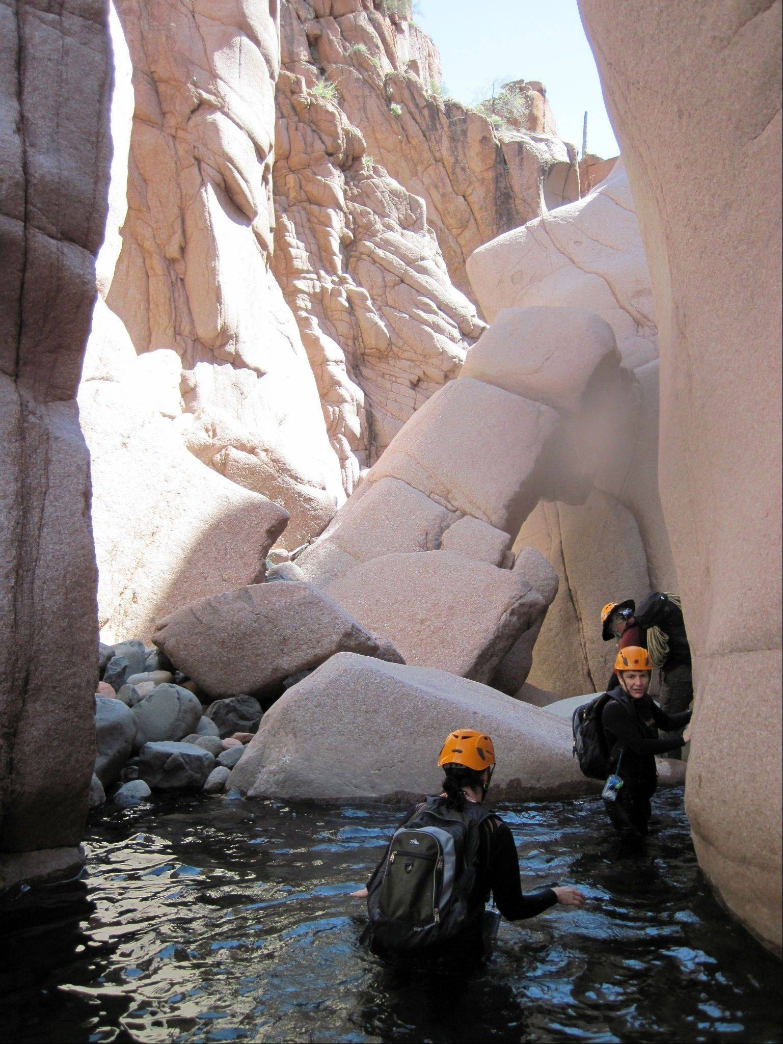 Hikers in wet suits and helmets wade in Salome Creek in Salome Canyon, in Arizona's Tonto National Forest.