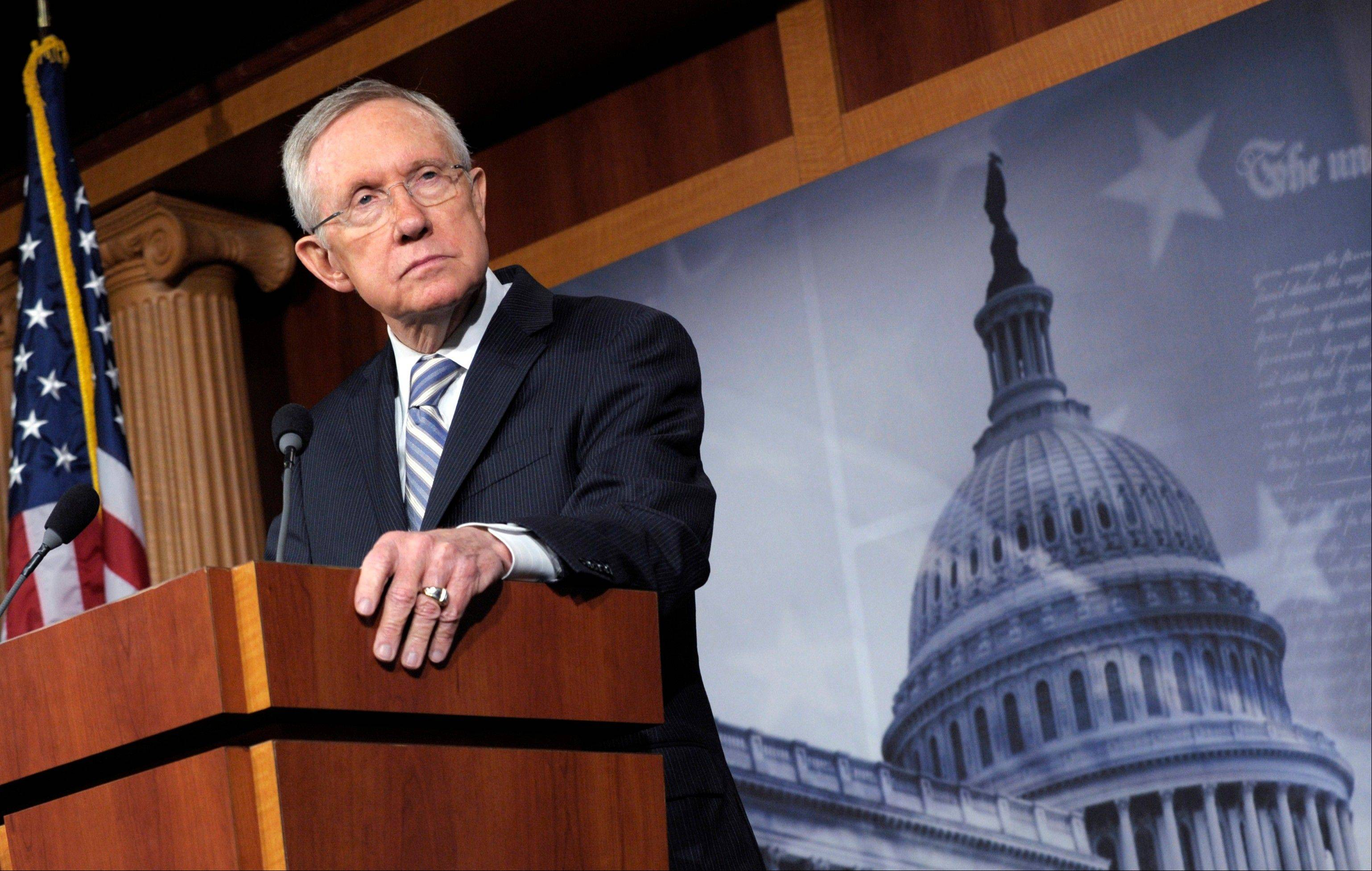 Senate Majority Leader Harry Reid of Nev. listens to a question during a news conference on Capitol Hill in Washington, Wednesday, Nov. 7, 2012, to discuss Tuesday's election results.