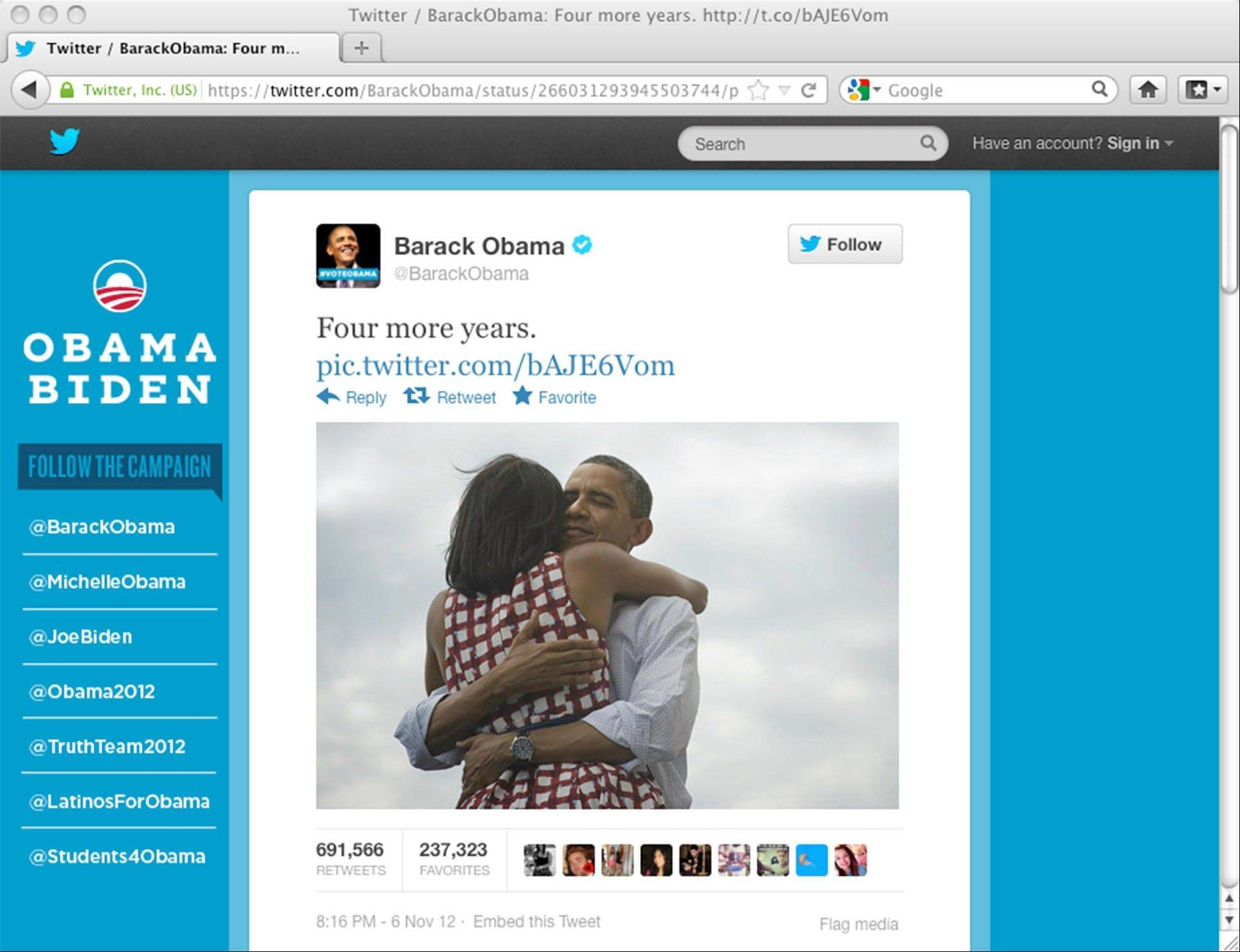 "President Barack Obama's Twitter posting, which read ""Four more years"" and featured a picture of him hugging his wife, Michelle, became the most retweeted post on Twitter. Unlike many images of political marriage in which the man lays claim to his wife through a symbolically possessive gesture, the embrace between these two people seems mutual and symbolic of a healthy society."