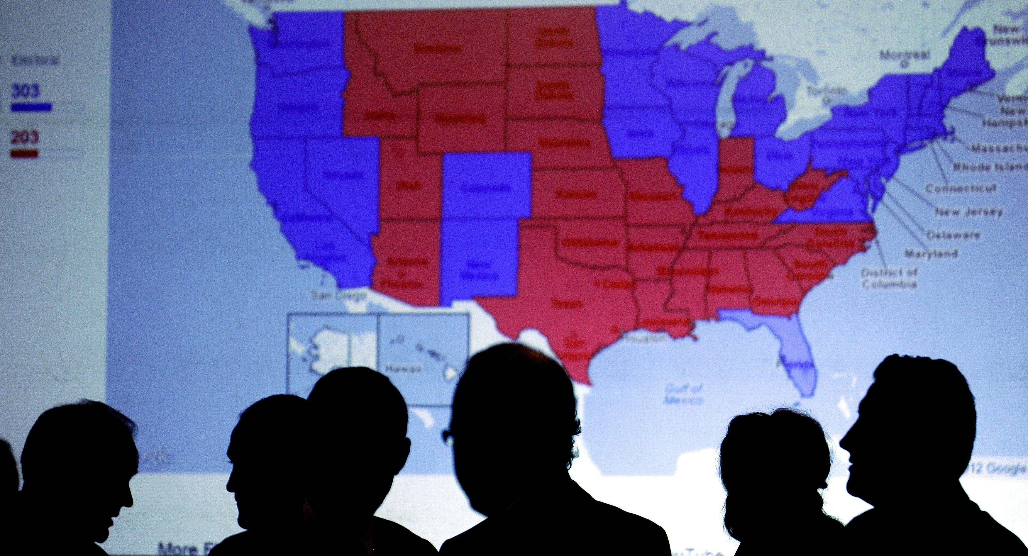 An electoral U.S. map displays red states v. blue states on election night.