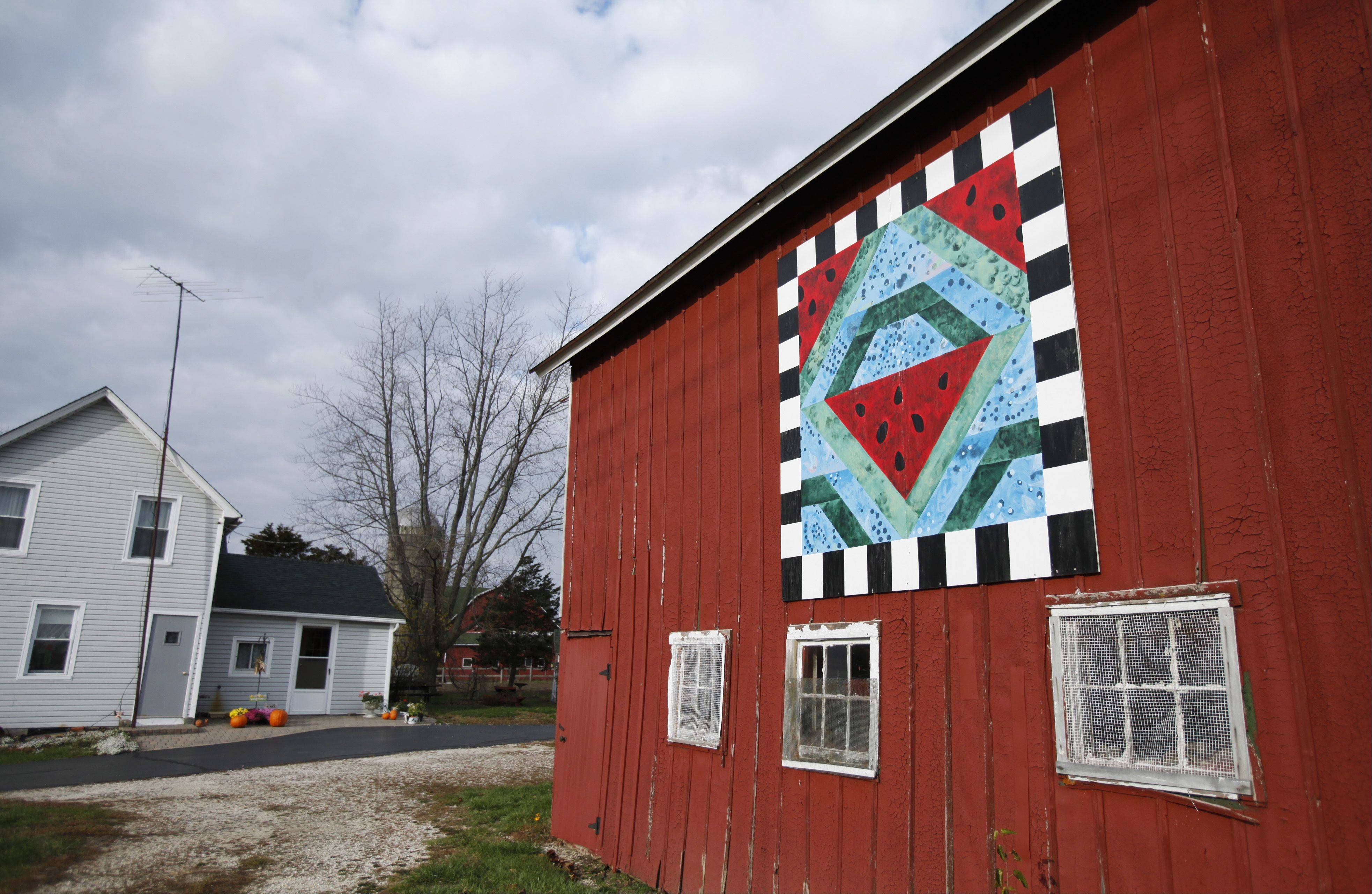"McHenry County hasabout 50 painted barn ""quilts"" on them as part of a countywide exhibit. This piece can be seen on the property of Janet Hayes, at 19014 W. Coral Road in Marengo."