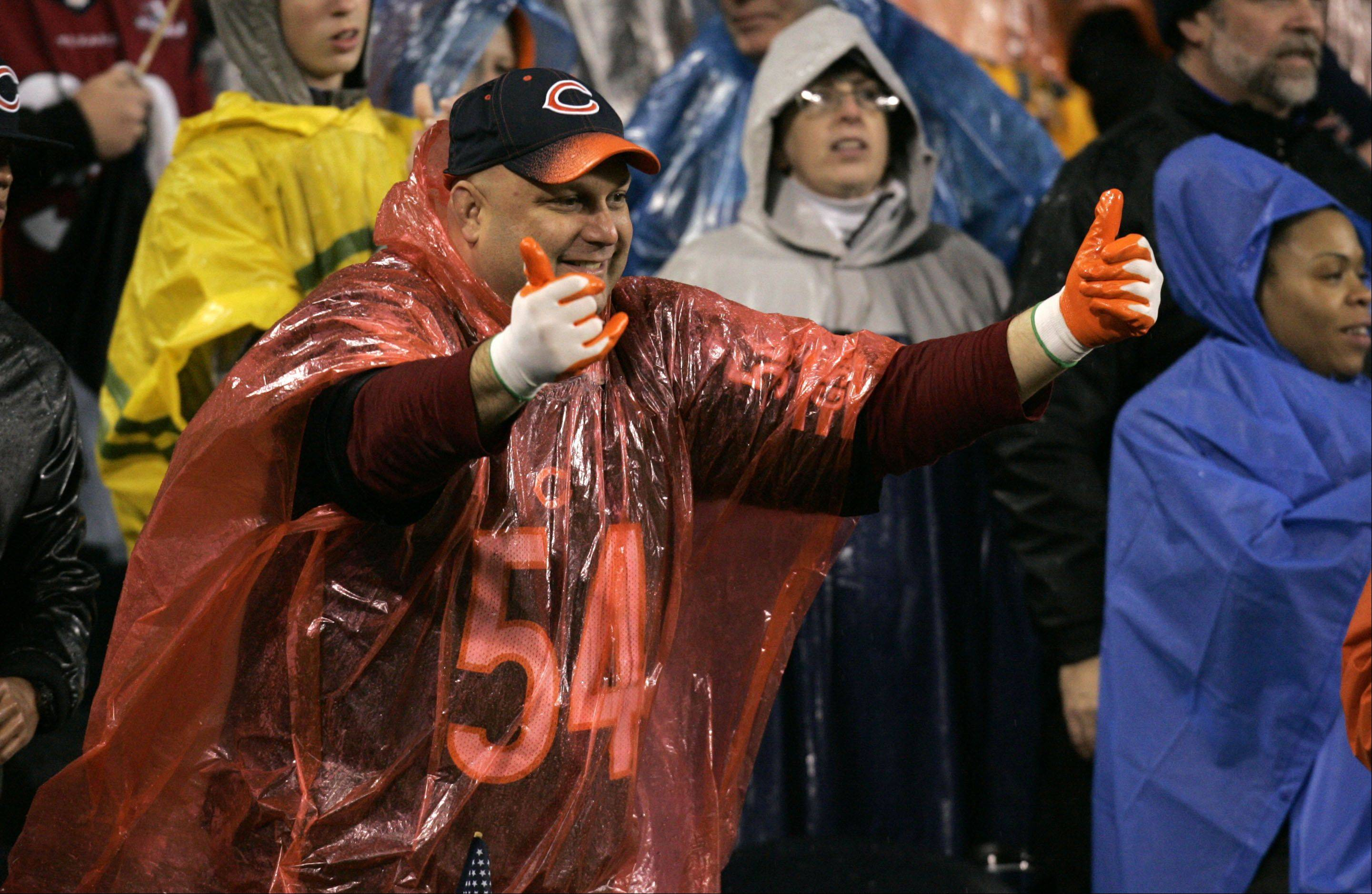 A bears fan cheers his team during the game Sunday at Soldier Field in Chicago.