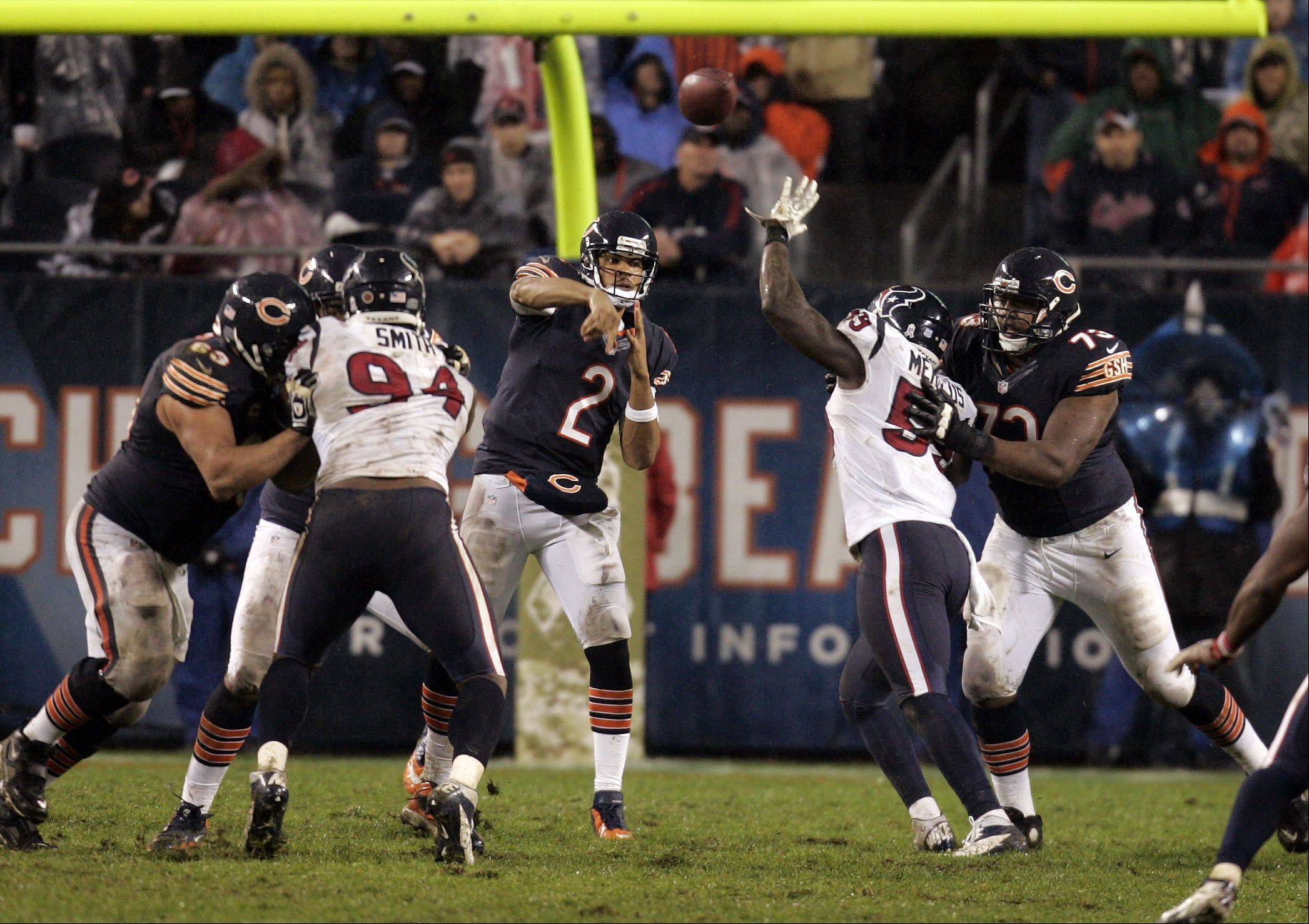 Chicago Bears quarterback Jason Campbell (2) throws during the fourth quarter during the game.