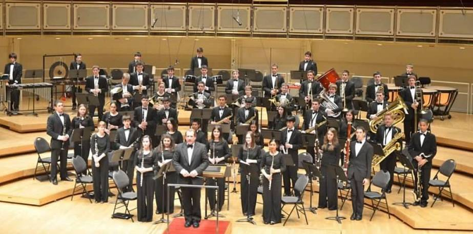 Highland Park High School Wind Symphony performing a concert at Chicago's Symphony Center, home of the Chicago Symphony Orchestra, in April 2012.
