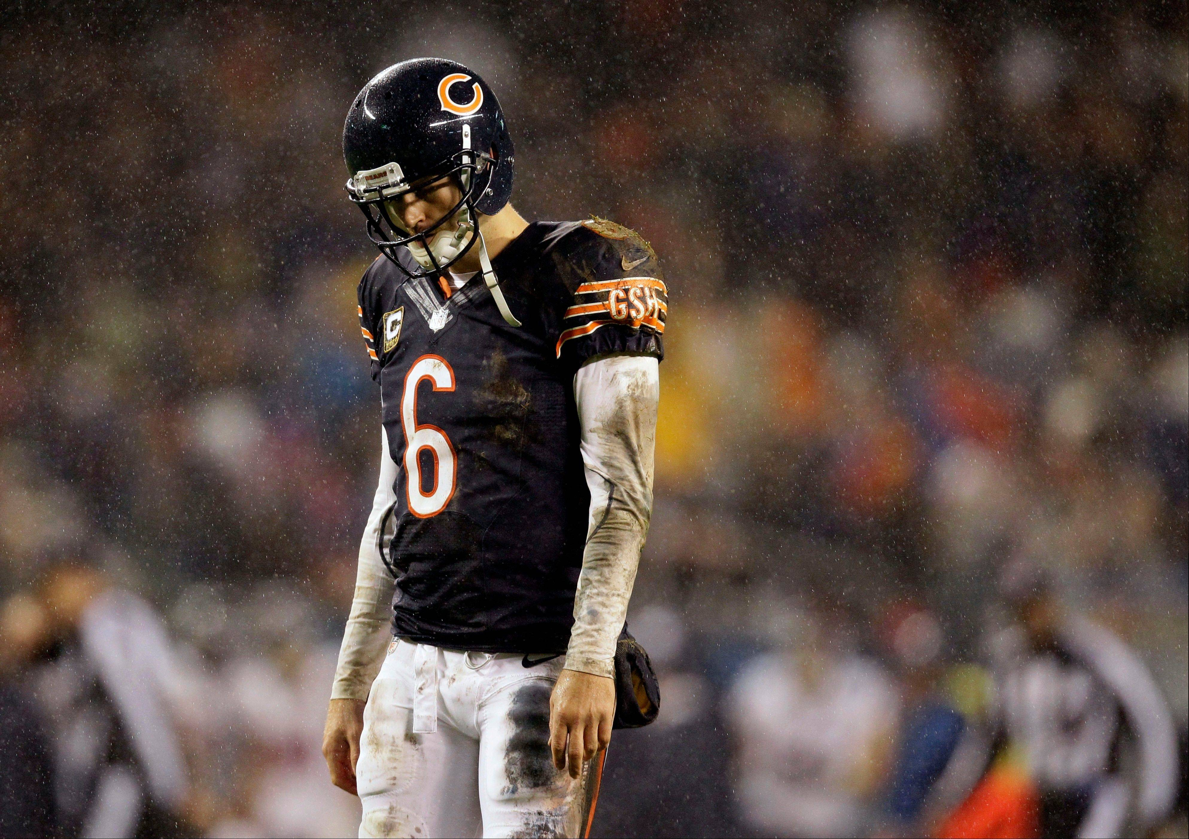 Chicago Bears quarterback Jay Cutler (6) walks of the field after a play against the Houston Texans in the first half an NFL football game in Chicago, Sunday, Nov. 11, 2012. (AP Photo/Nam Y. Huh)