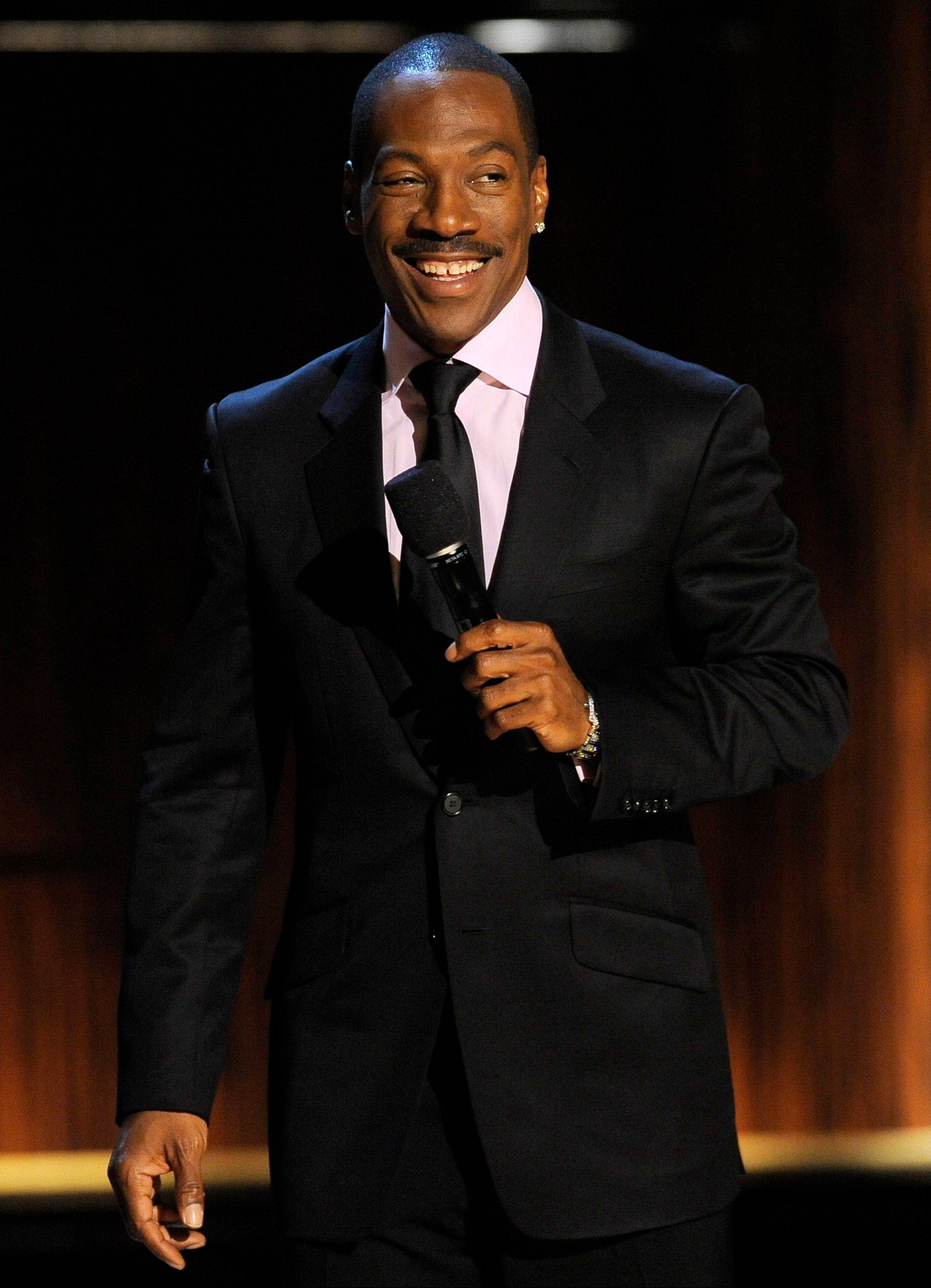 "Eddie Murphy addresses the audience at the close of ""Eddie Murphy: One Night Only,"" a celebration of Murphy's career at the Saban Theater in Beverly Hills."