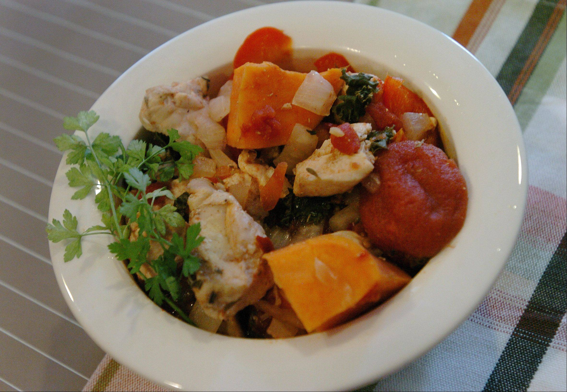 Vegetable and chicken-stuffed sweet potato stew is not only good, but good for you.