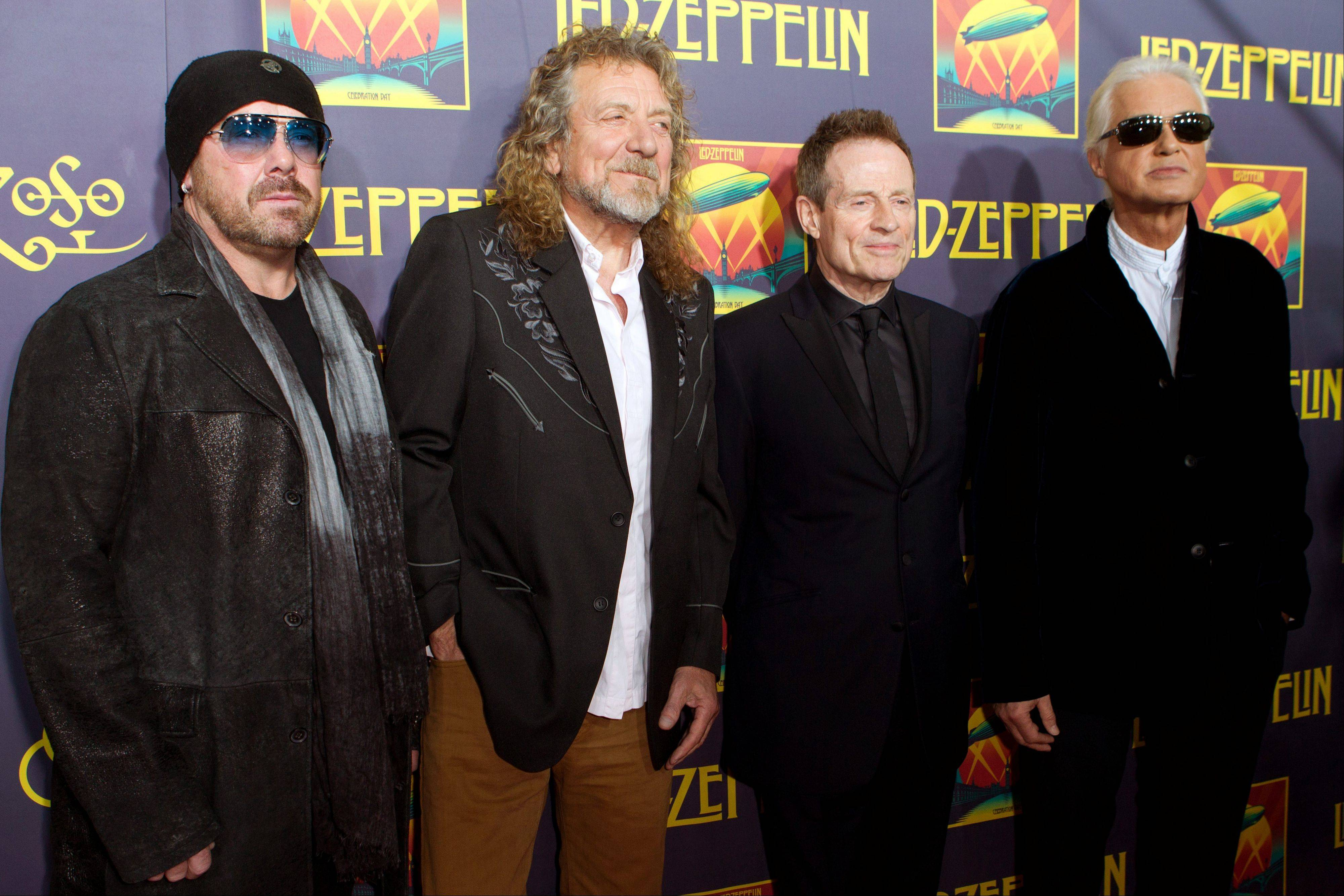 "On Monday, Nov. 19, Led Zeppelin's ""Kashmir"" and ""Since I've Been Loving You"" -- sung by Jason Bonham, left, Robert Plant, John Paul Jones and Jimmy Page -- will be featured in an episode of ""Revolution,"" the same day that Led Zeppelin's ""Celebration Day"" album and a companion documentary on DVD will be released."