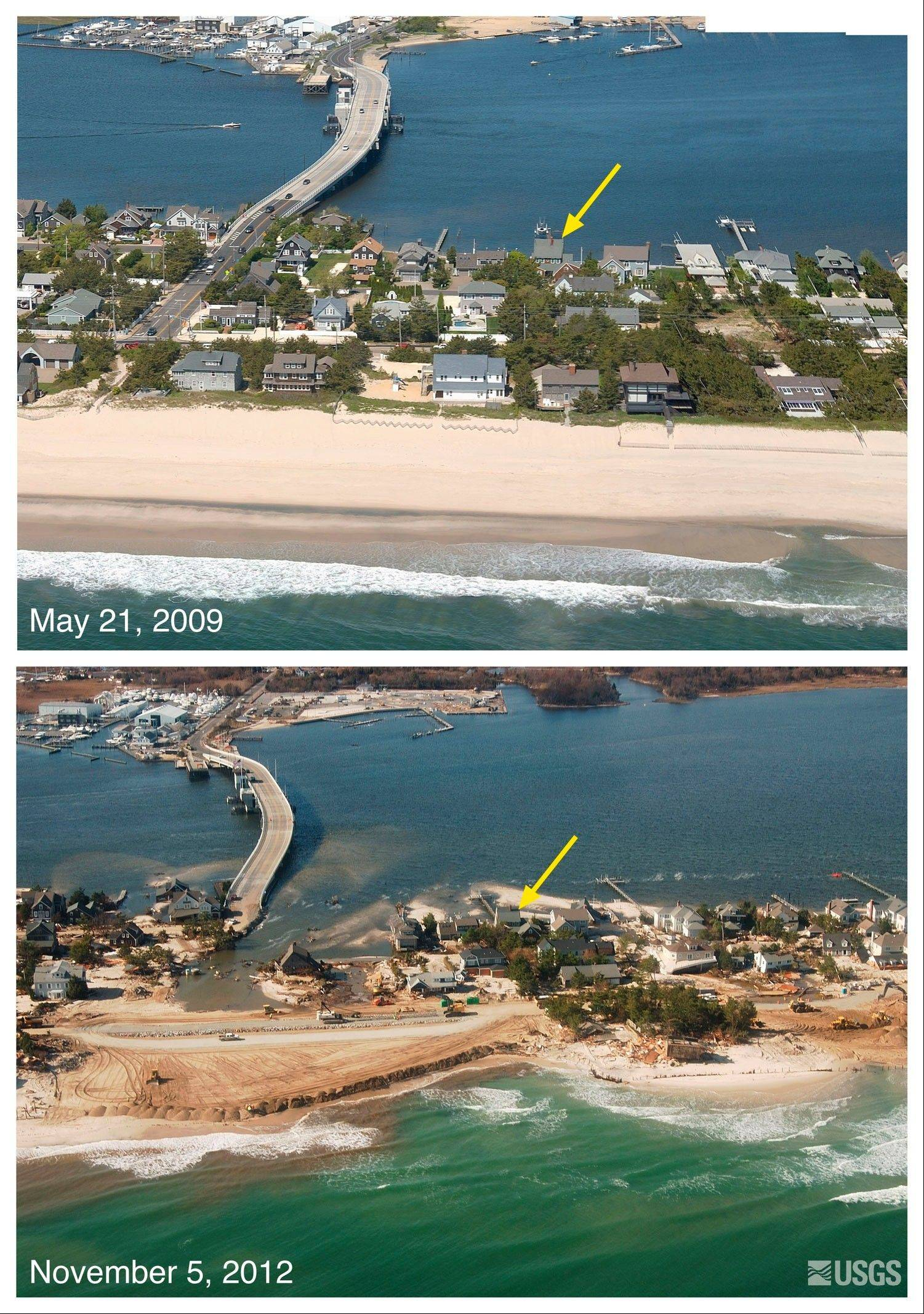 These photos provided by the U.S. Geological Survey show Mantoloking, N.J., before and after Superstorm Sandy. The top photo was created May 21, 2009, and bottom photo taken Nov. 5.
