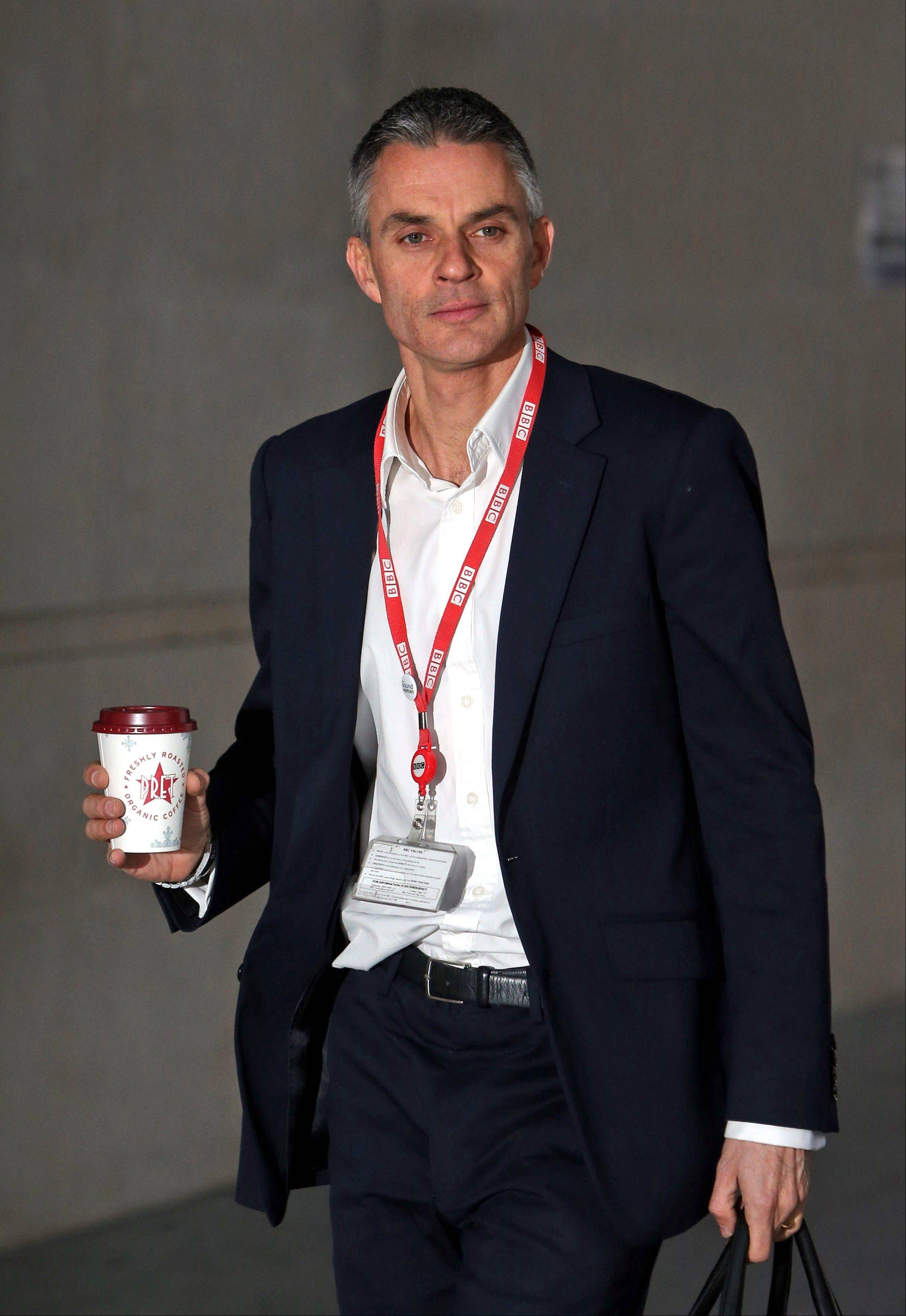 Acting director general of the BBC Tim Davie arrives at New Broadcasting house in central London Monday. The BBC, one of the world's largest and most respected broadcasters, is facing calls for a radical restructuring after botched coverage of child sex abuse scandals and the subsequent resignation of its director general.
