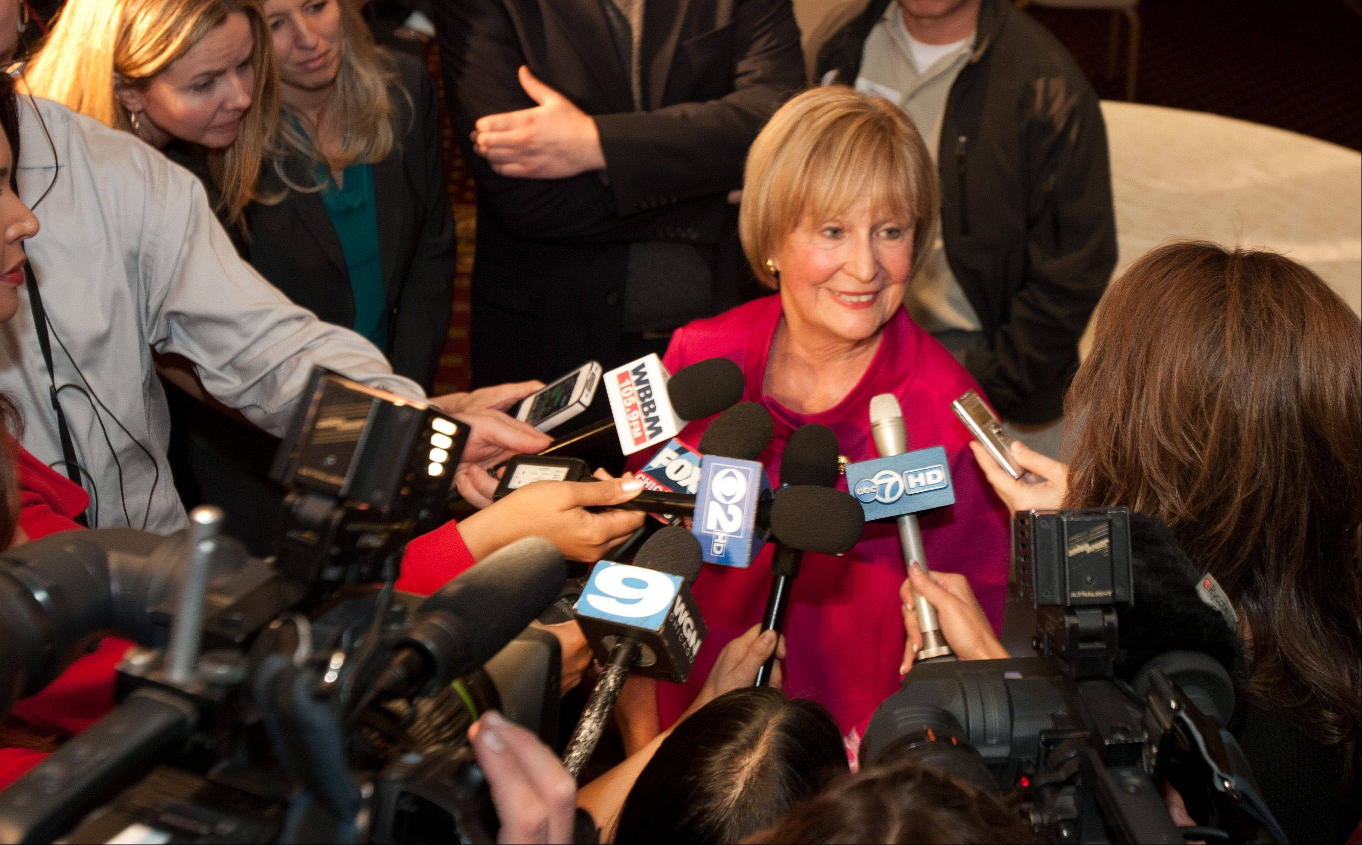 U.S. Rep. Judy Biggert talks to the media after conceding her 11th Congressional district race to Bill Foster.