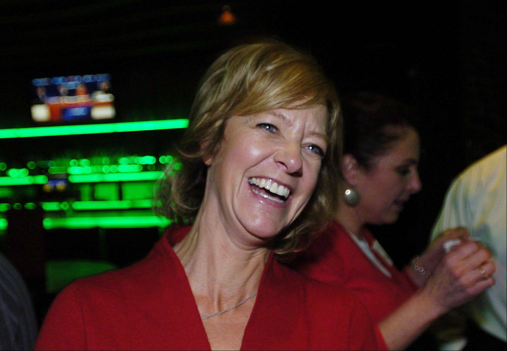 Republican Jeanne Ives candidate for the 42nd House District at Wok n' Fire in Wheaton Tuesday. She was there to watch election results come in and celebrate her victory.