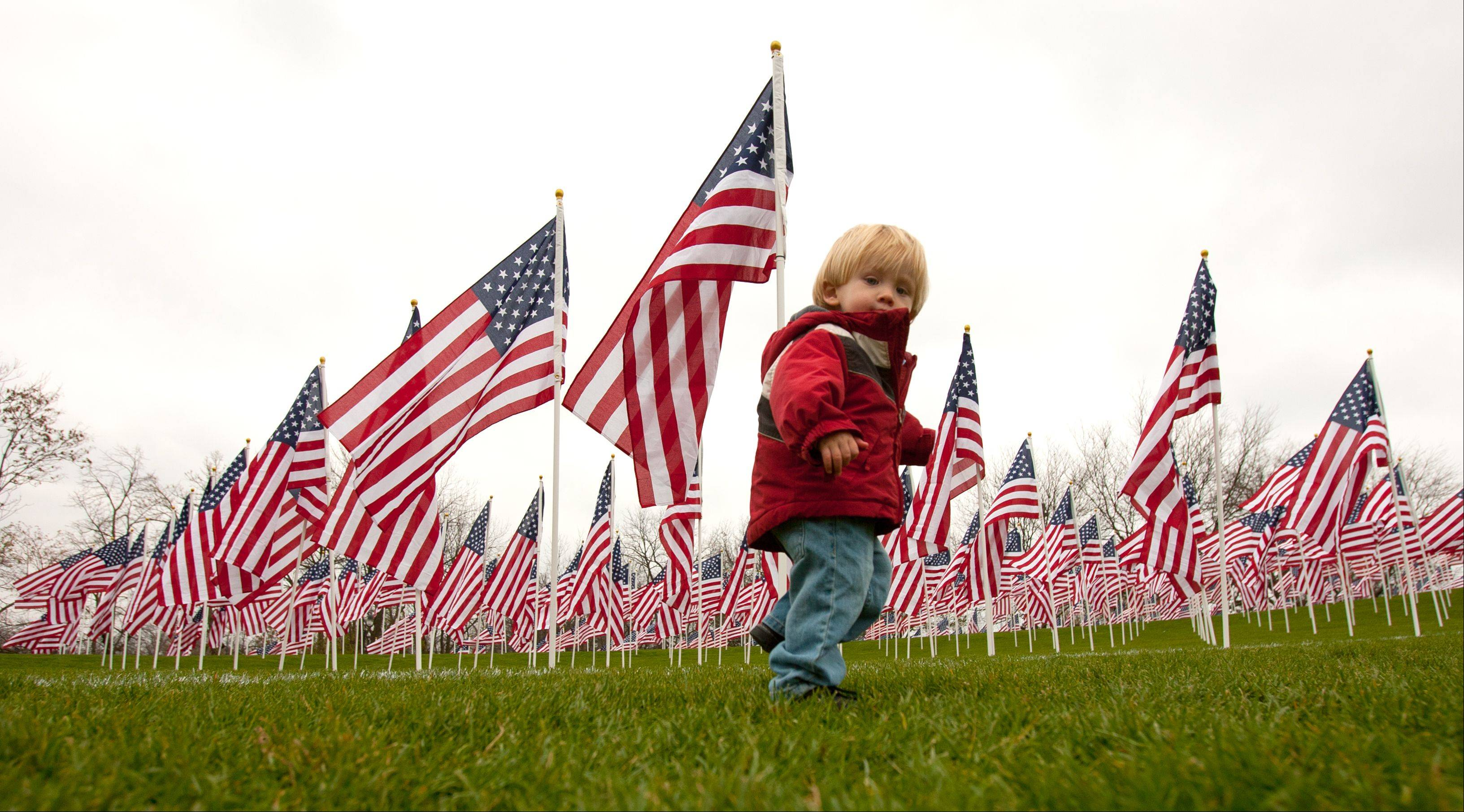 "Ethan Rejmenczak, 1, of Naperville walks among waving flags of the ""Healing Field of Honor"" at Naperville's Rotary Hill."