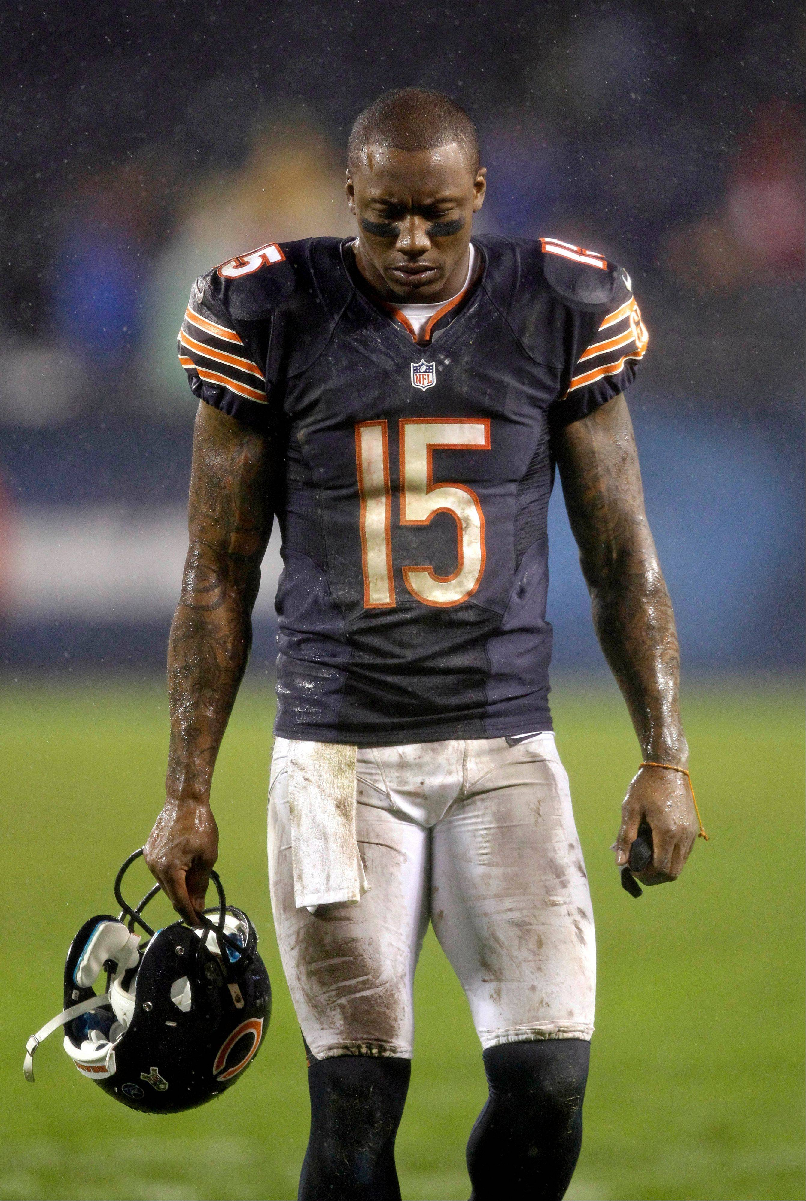 Bears wide receiver Brandon Marshall walks off the field after the Bears' 13-6 loss to the Houston Texans on Sunday night.