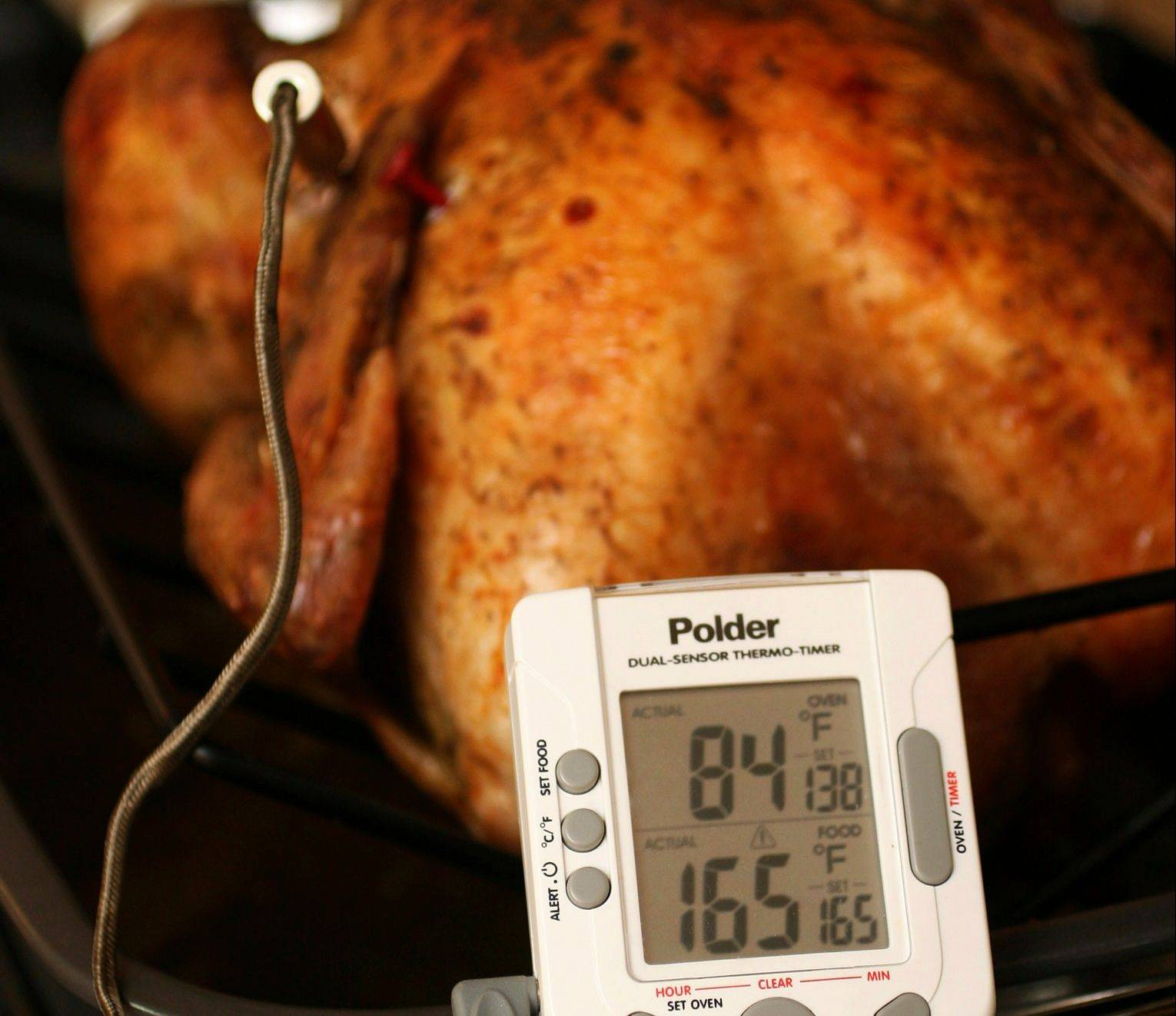 Federal guidelines state that your turkey is safe to eat when the innermost part of the thigh reaches 165 degrees. Some people say thigh meat tastes better at 170 degrees. If the turkey is stuffed, the stuffing must also reach 165 degrees.