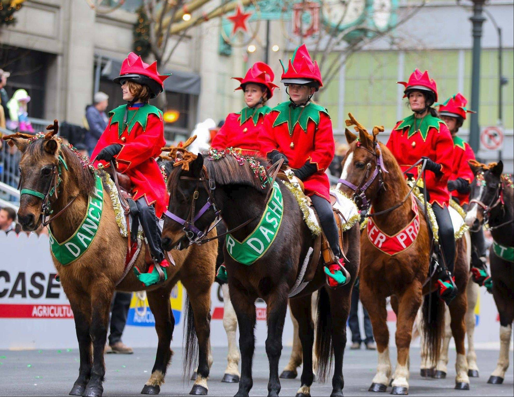 Festive equestrians are decked out in holiday gear for a previous edition of the McDonald's Thanksgiving Day Parade in Chicago.