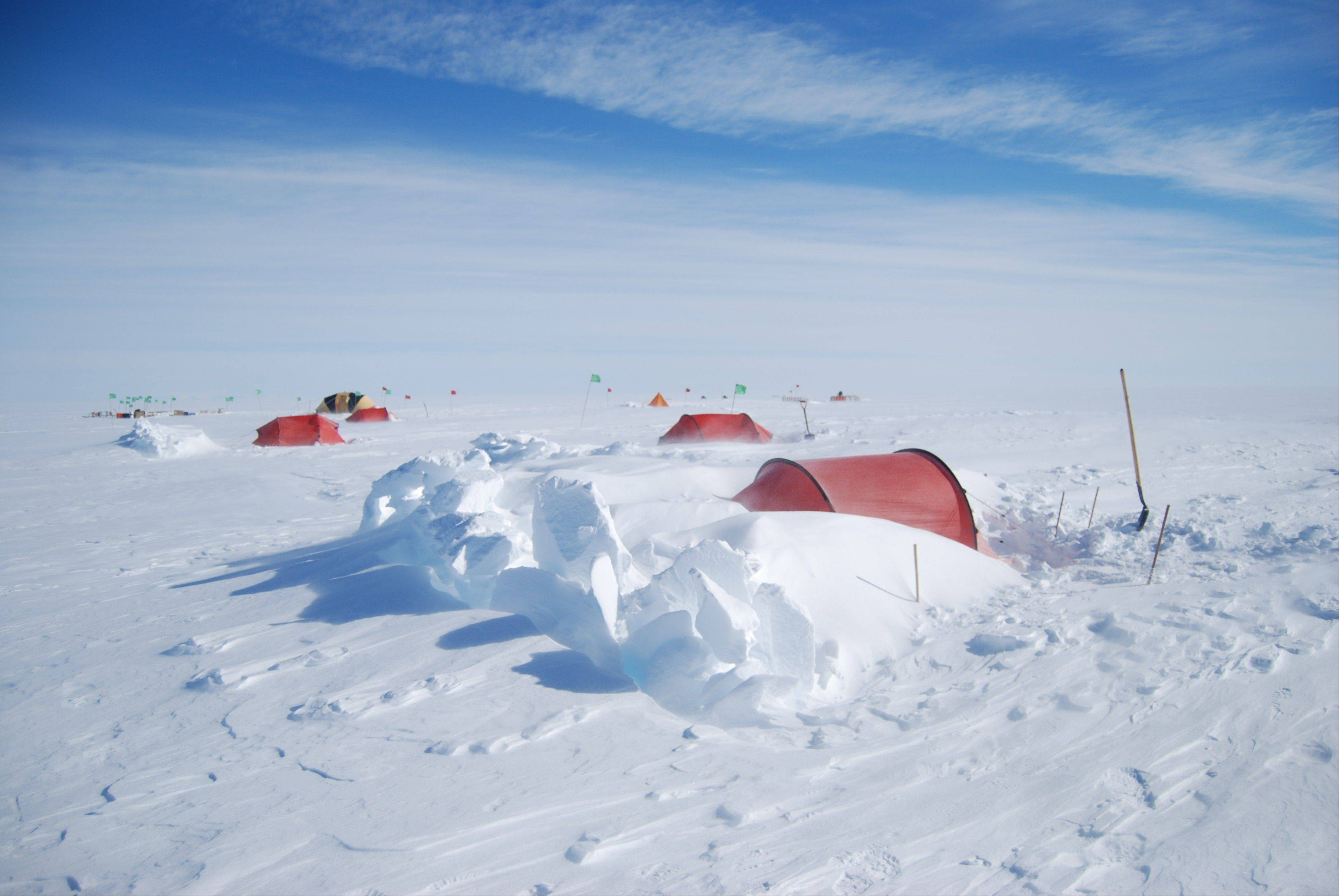 This is the camp where scientists and students from Northern Illinois University will stay, far above Lake Whillans on the Ross Ice Shelf in West Antarctica.
