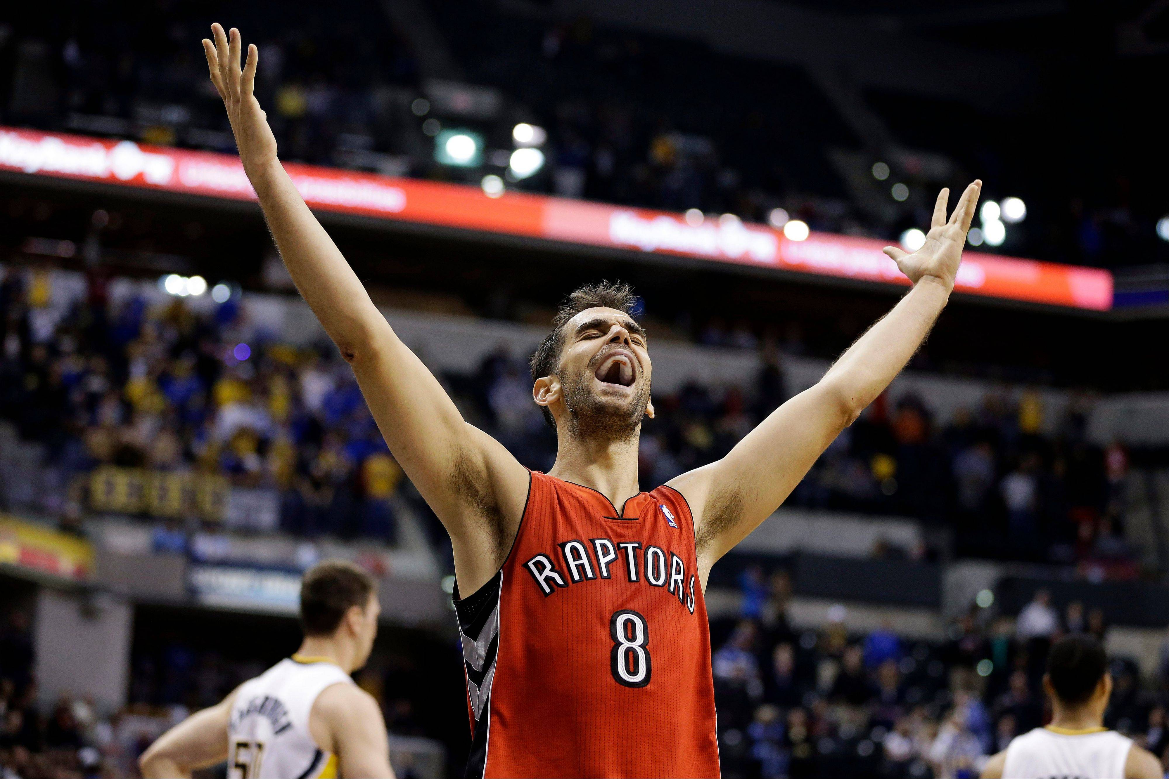 The Toronto Raptors' Jose Calderon reacts Tuesday after their 74-72 win over the Indiana Pacers in Indianapolis.