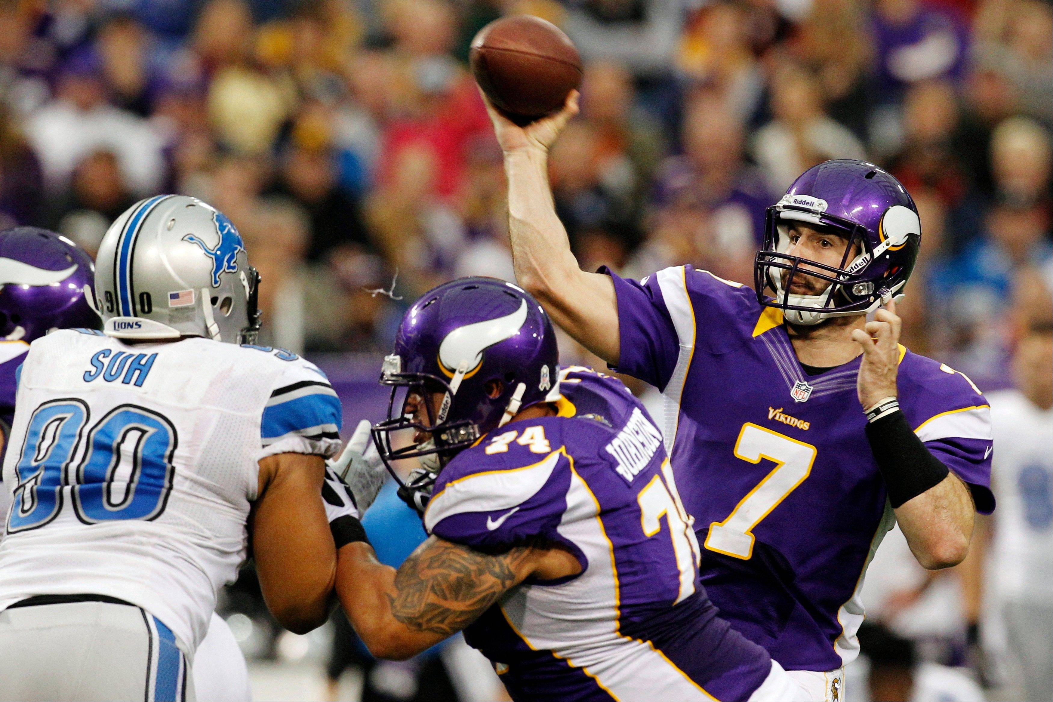 Minnesota Vikings quarterback Christian Ponder throws a pass Sunday during the second half against the Detroit Lions in Minneapolis. Ponder�s up-and-down season hasn�t done a thing to shake the organization�s confidence in him, GM Rick Spielman said.