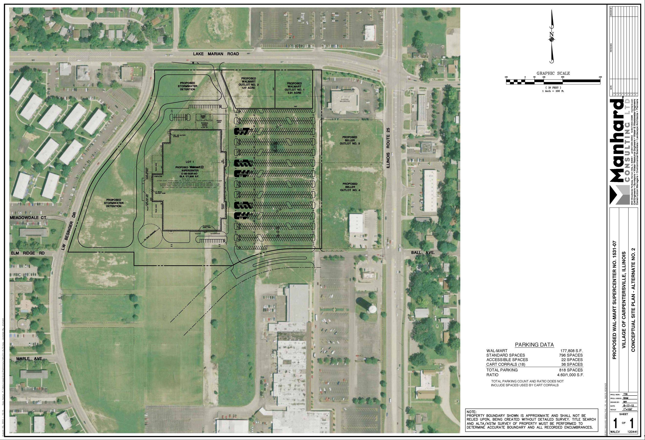 This site plan shows the location of a proposed Walmart super center at the corner of Lake Marian Road and Route 25 in Carpentersville. Village trustees got a look at and discussed the concept plan last week.