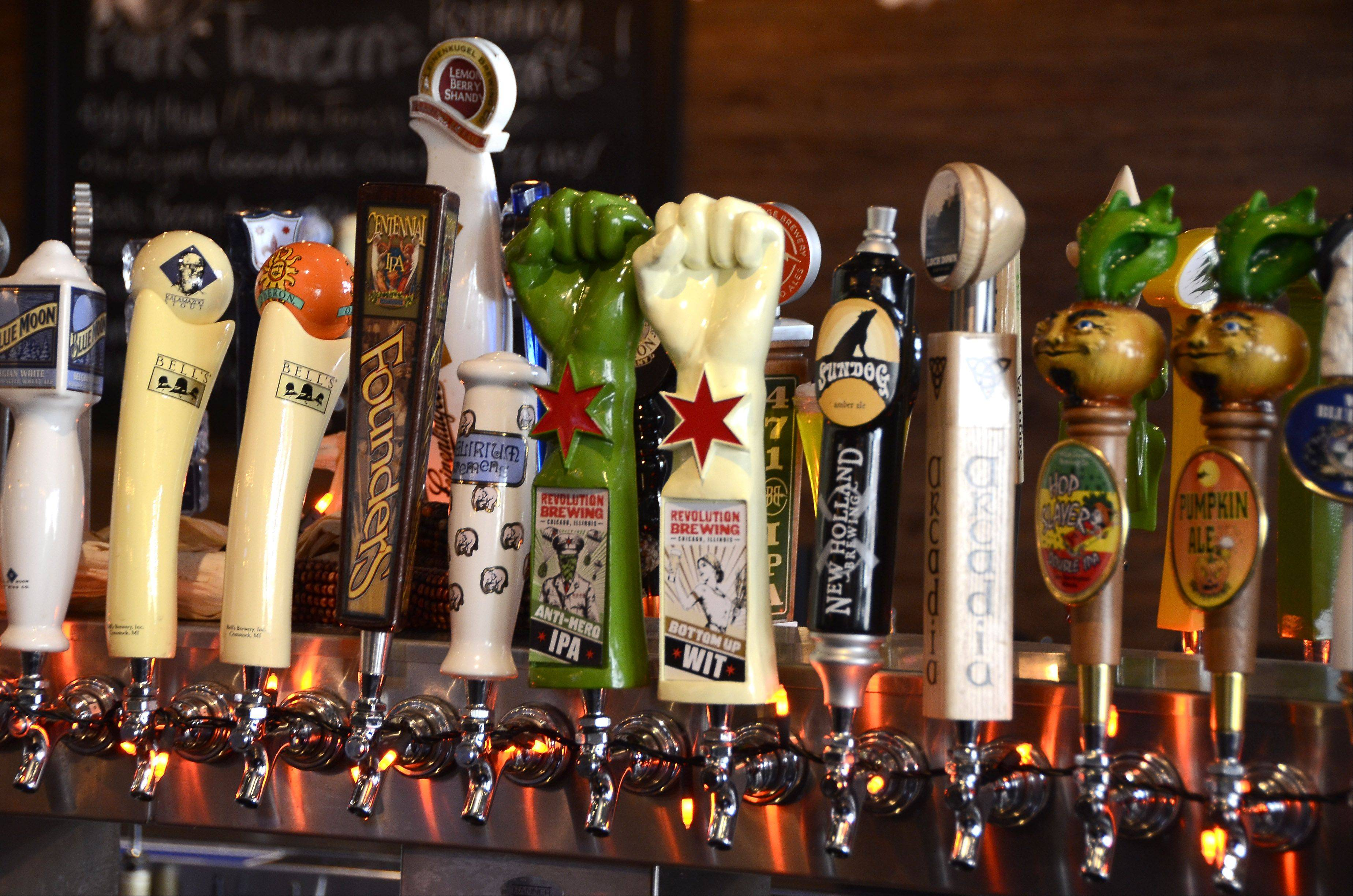 A seemingly endless variety of beers are on tap at Park Tavern in Rosemont.